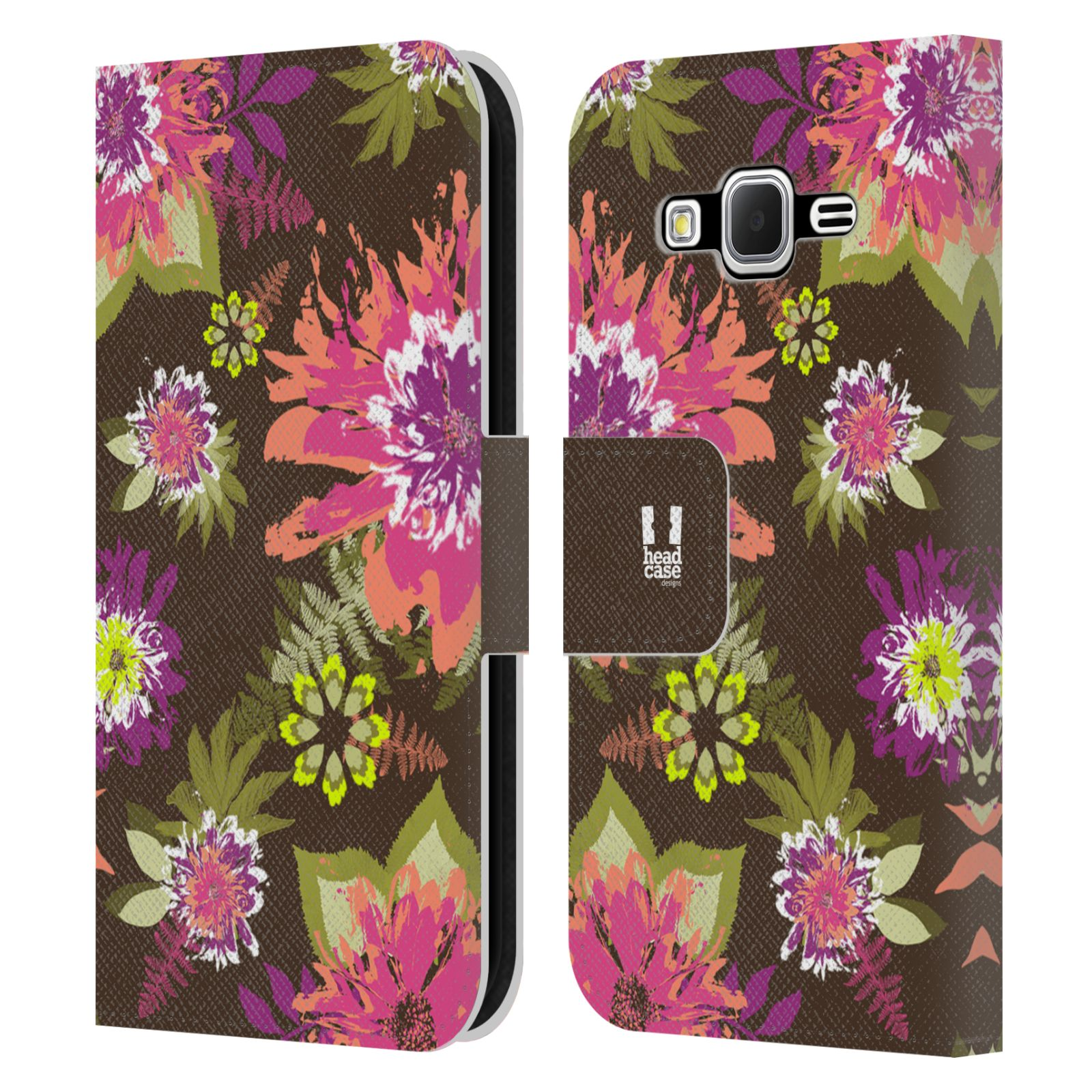 HEAD CASE Flipové pouzdro pro mobil Samsung Galaxy CORE PRIME BOTANIKA barevné květy zelená