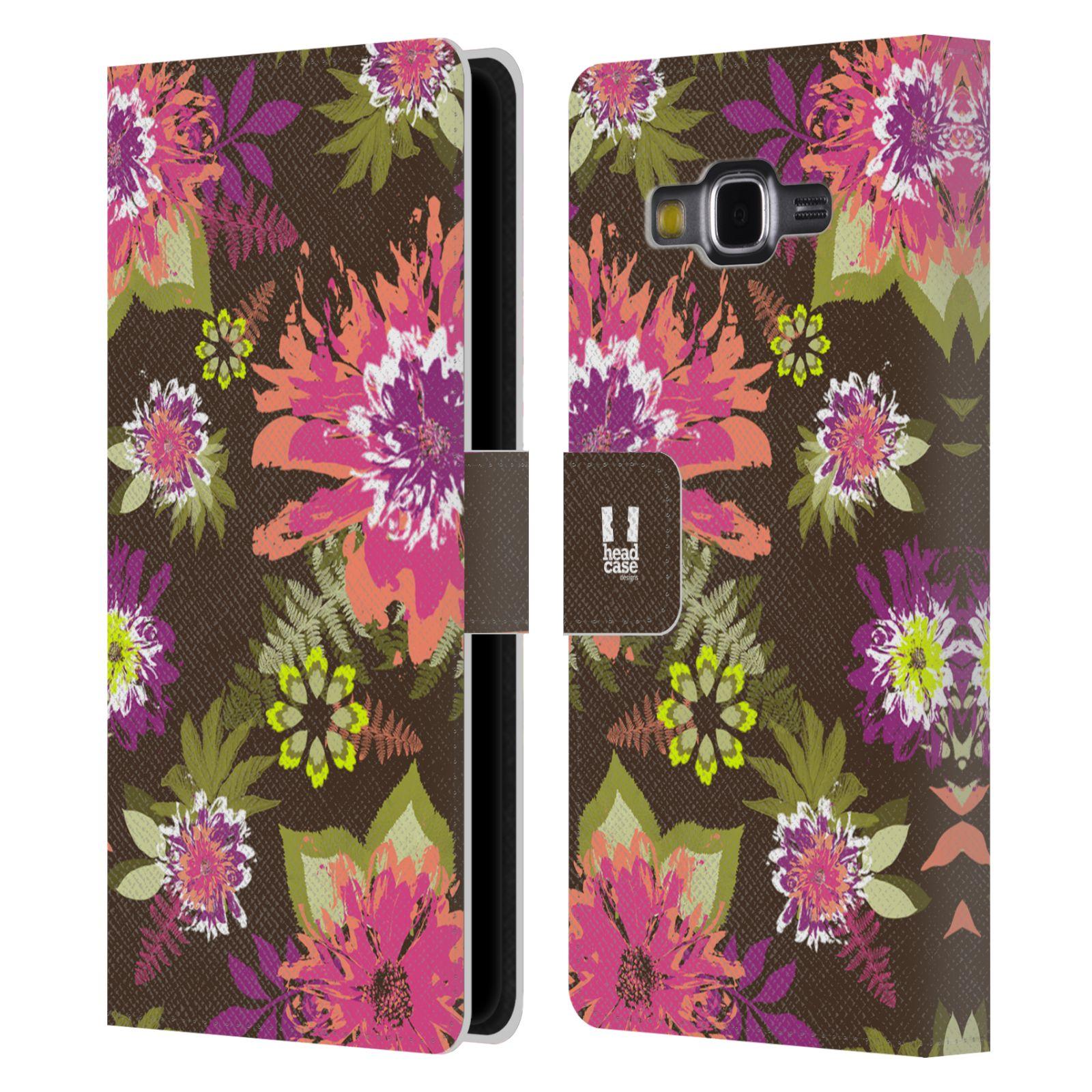 HEAD CASE Flipové pouzdro pro mobil Samsung Galaxy Grand PRIME BOTANIKA barevné květy zelená