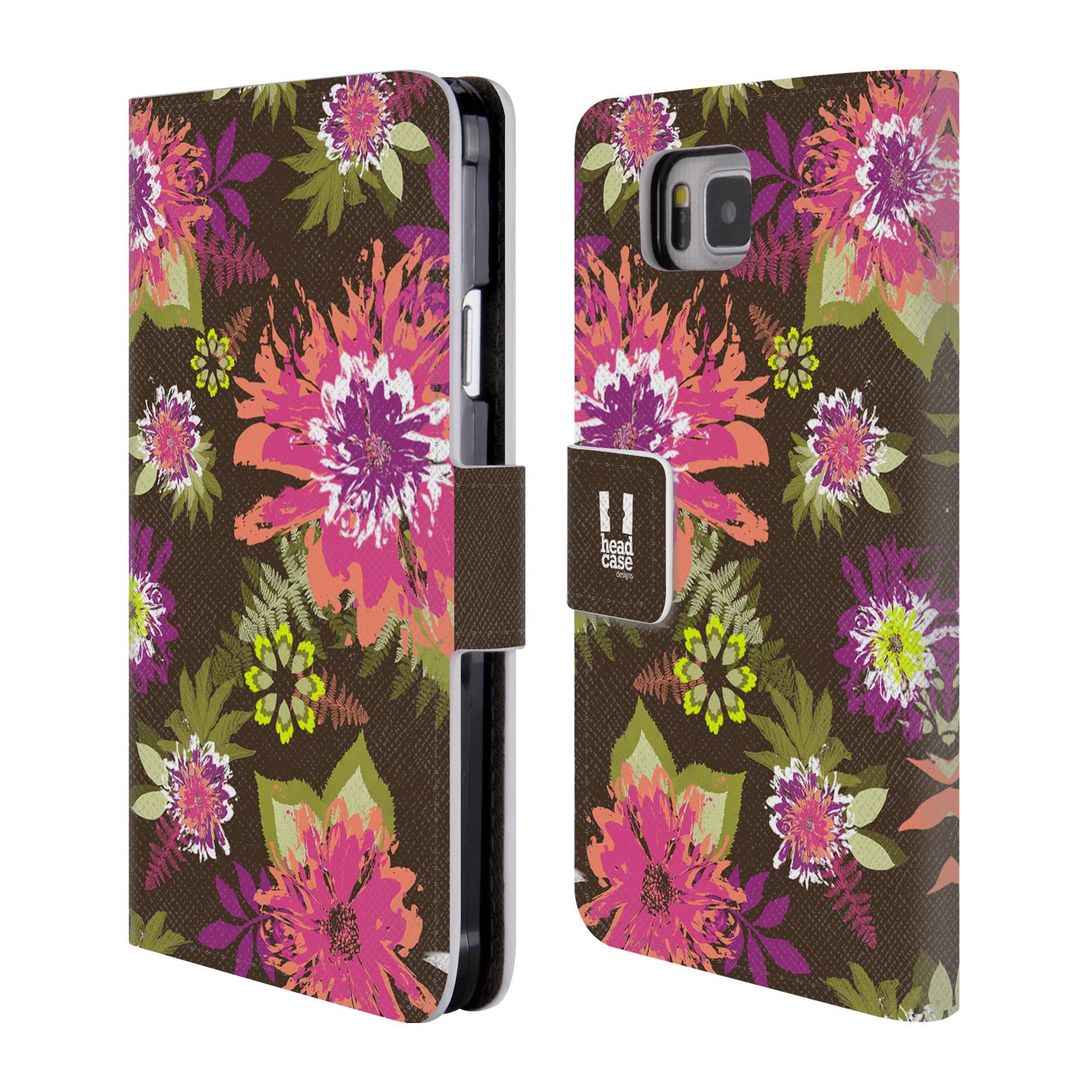 HEAD CASE Flipové pouzdro pro mobil Samsung Galaxy ALPHA BOTANIKA barevné květy zelená