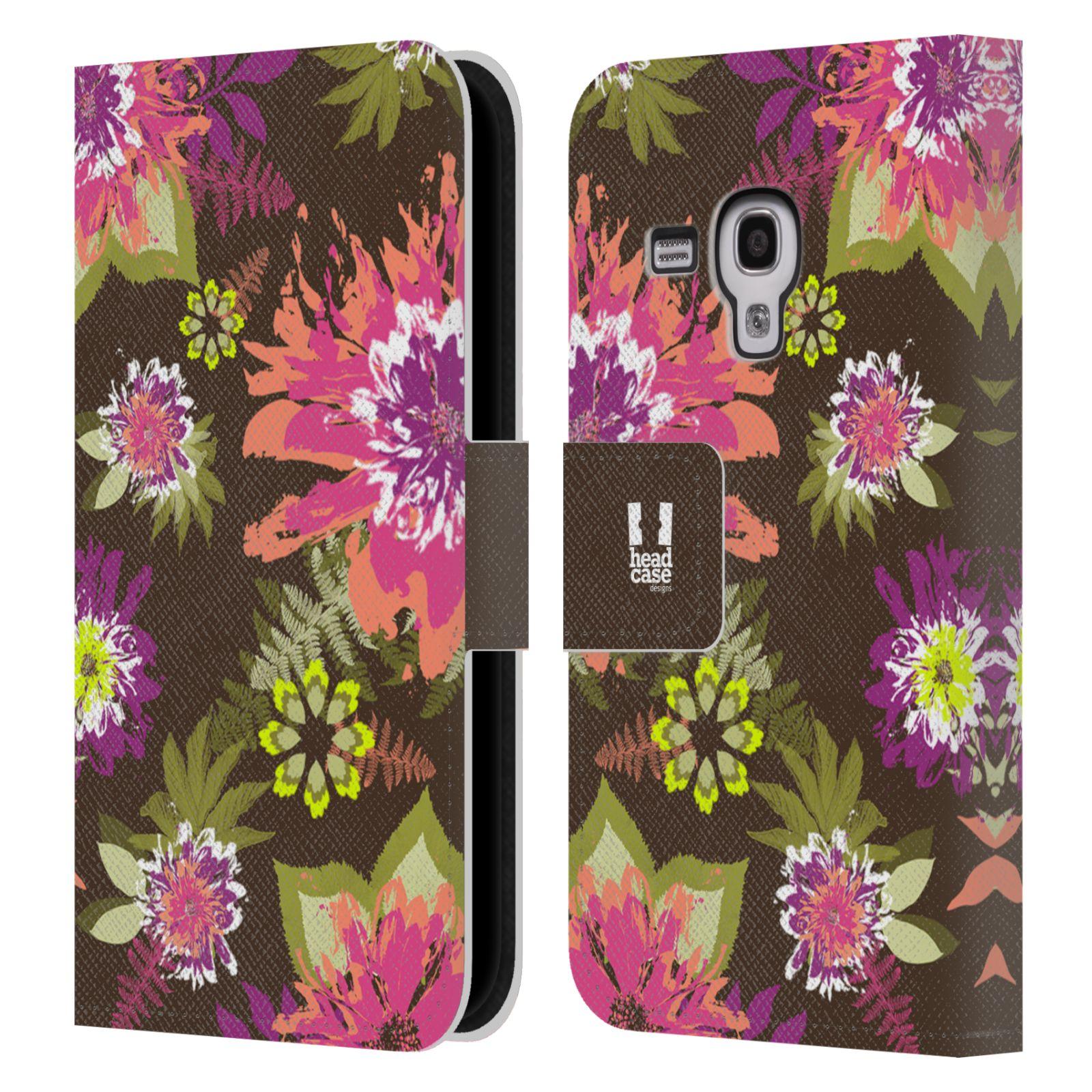 HEAD CASE Flipové pouzdro pro mobil Samsung Galaxy S3 MINI BOTANIKA barevné květy zelená