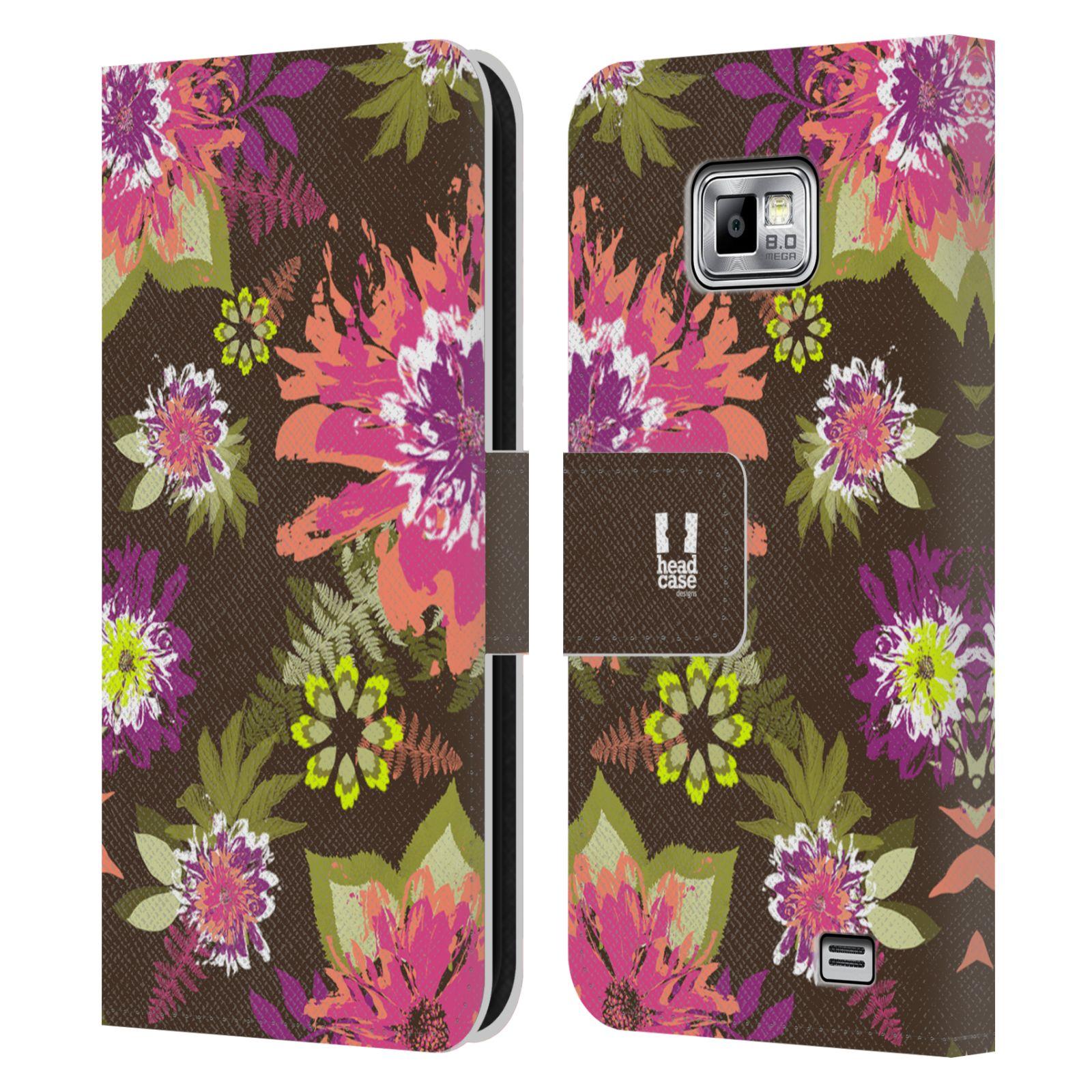 HEAD CASE Flipové pouzdro pro mobil Samsung Galaxy S2 i9100 BOTANIKA barevné květy zelená