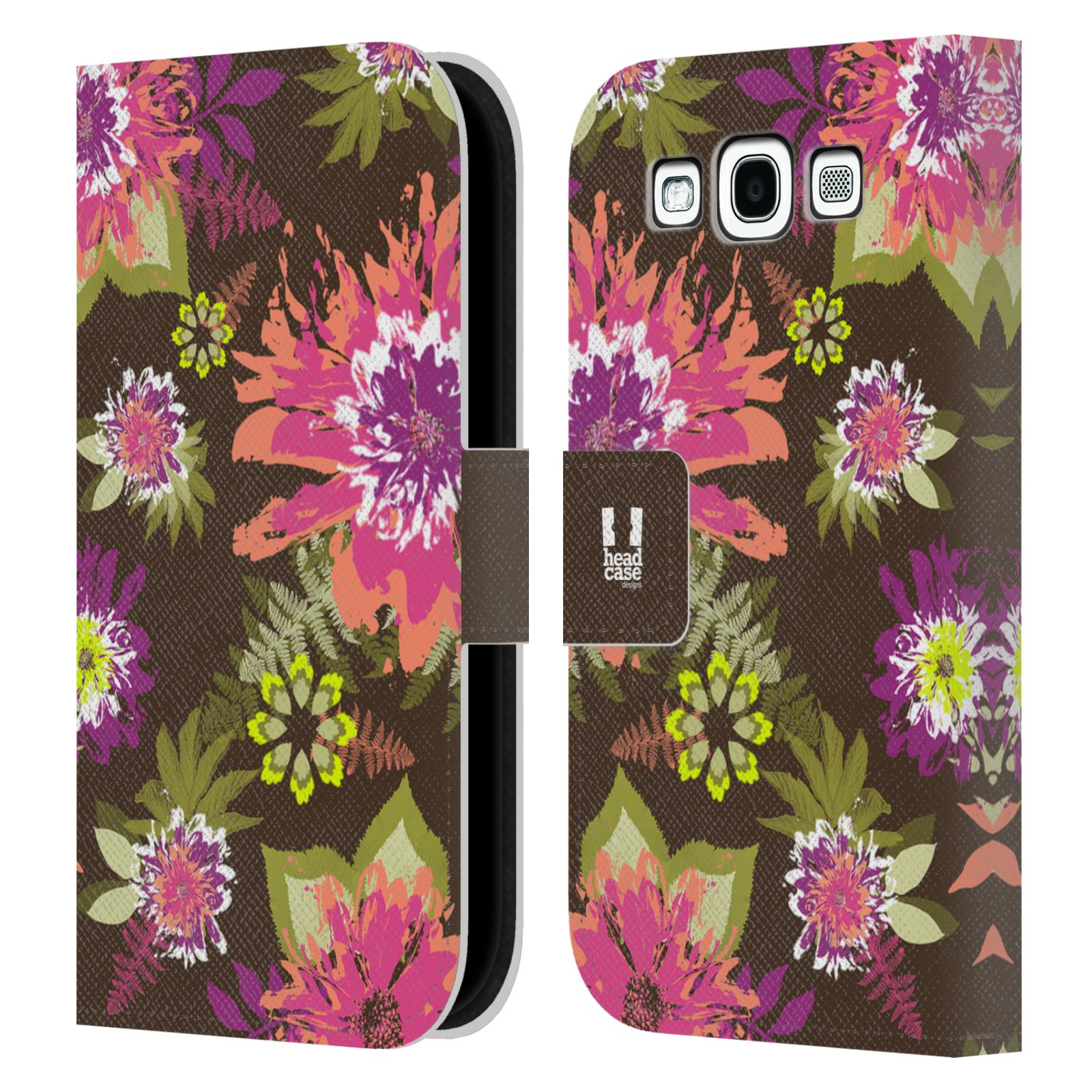 HEAD CASE Flipové pouzdro pro mobil Samsung Galaxy S3 BOTANIKA barevné květy zelená