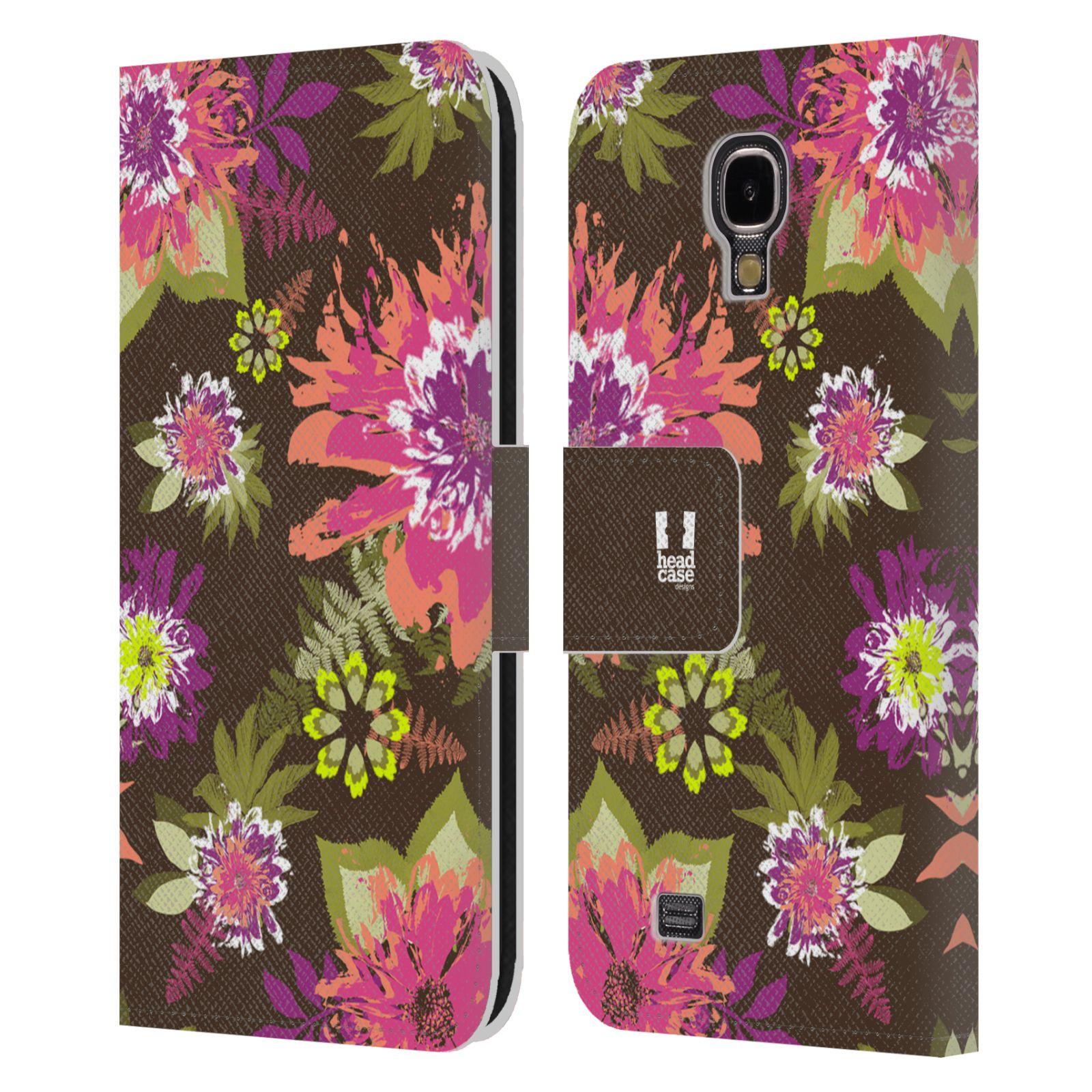 HEAD CASE Flipové pouzdro pro mobil Samsung Galaxy S4 BOTANIKA barevné květy zelená