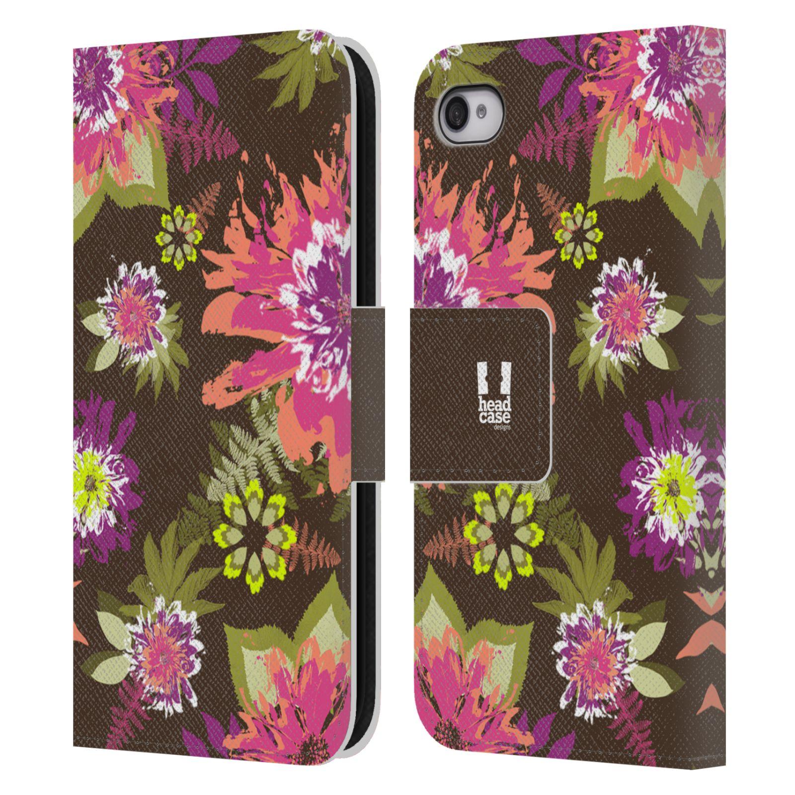 HEAD CASE Flipové pouzdro pro mobil Apple Iphone 4/4s BOTANIKA barevné květy zelená