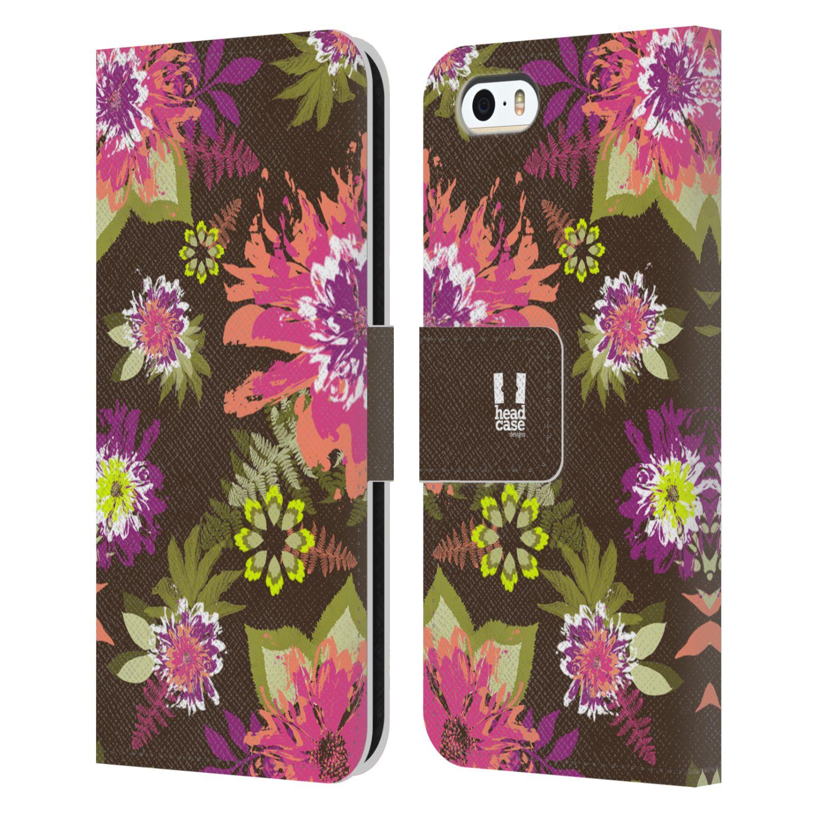 HEAD CASE Flipové pouzdro pro mobil Apple Iphone 5/5s BOTANIKA barevné květy zelená