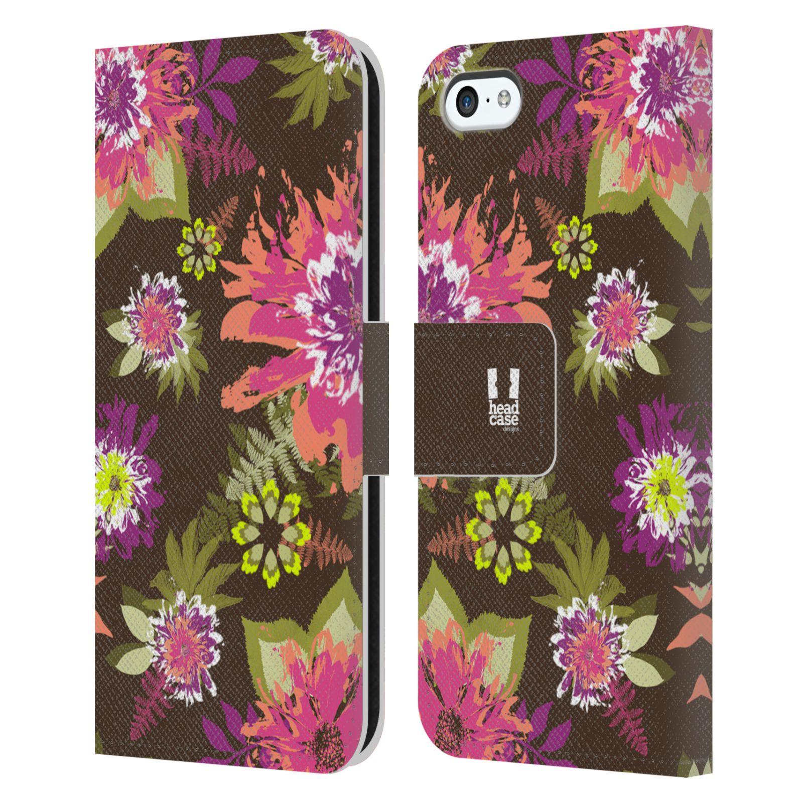 HEAD CASE Flipové pouzdro pro mobil Apple Iphone 5C BOTANIKA barevné květy zelená