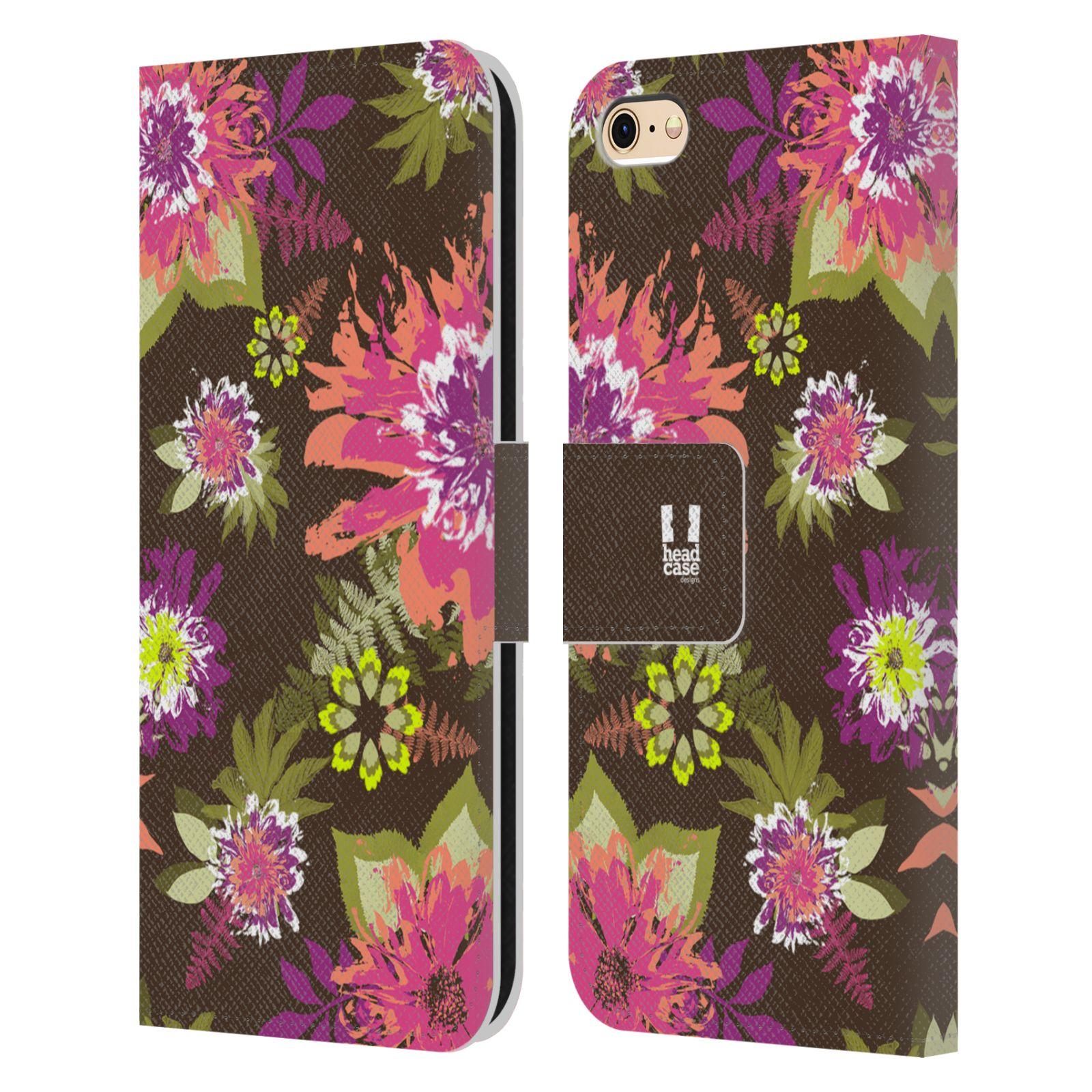 HEAD CASE Flipové pouzdro pro mobil Apple Iphone 6/6s BOTANIKA barevné květy zelená