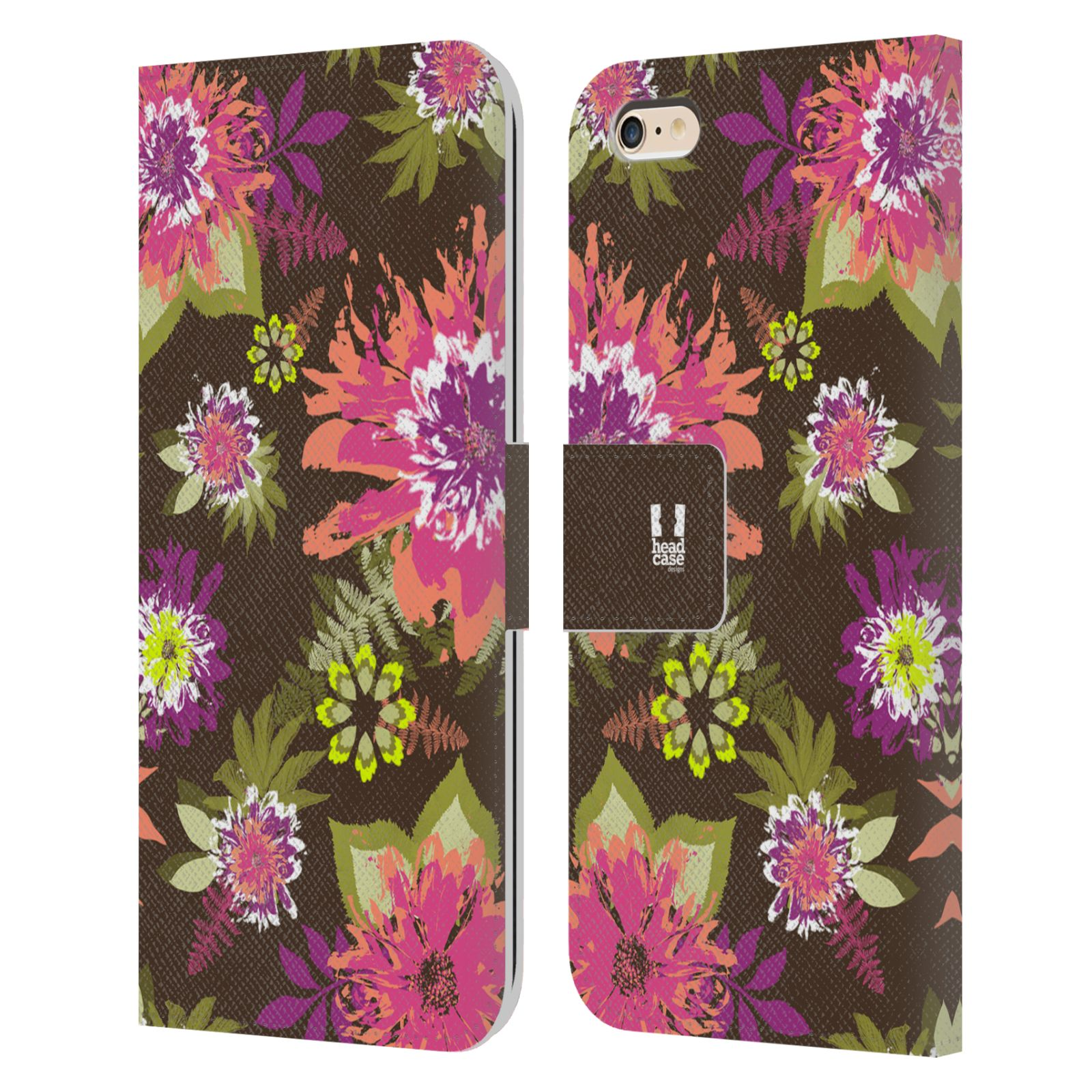 HEAD CASE Flipové pouzdro pro mobil Apple Iphone 6 PLUS / 6S PLUS BOTANIKA barevné květy zelená