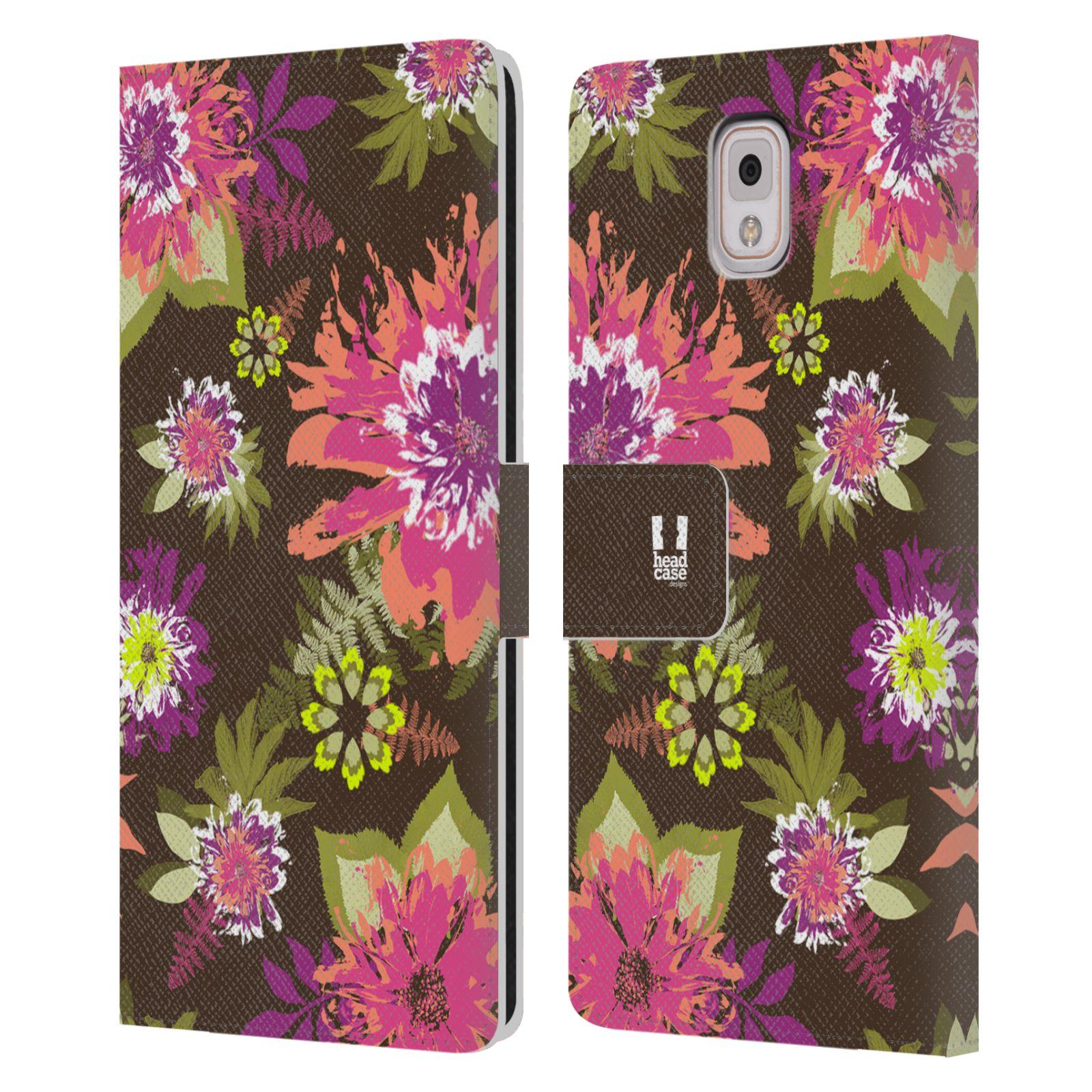HEAD CASE Flipové pouzdro pro mobil Samsung Galaxy Note 3 N9005 BOTANIKA barevné květy zelená