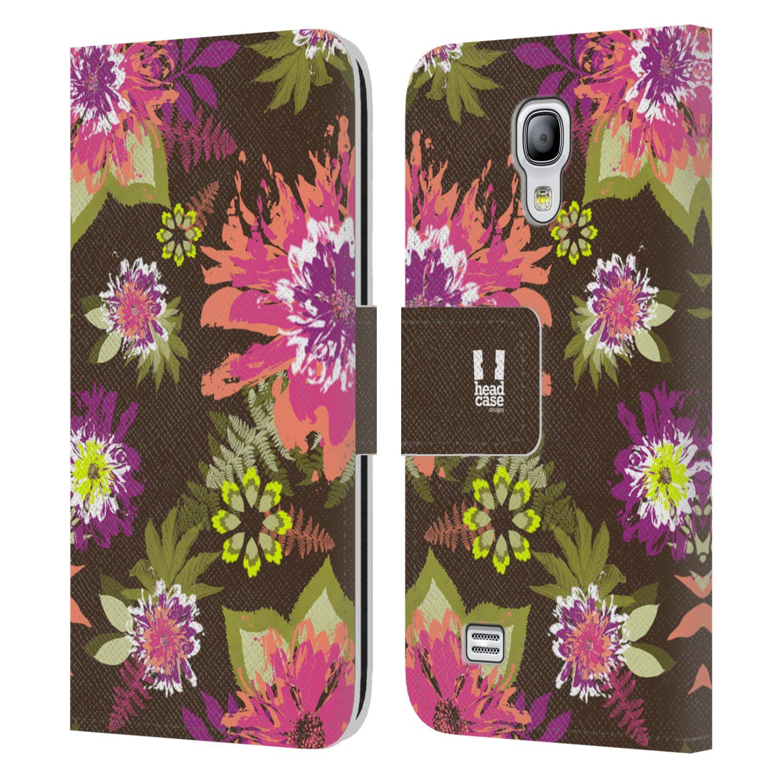 HEAD CASE Flipové pouzdro pro mobil Samsung Galaxy S4 MINI / S4 MINI DUOS BOTANIKA barevné květy zelená