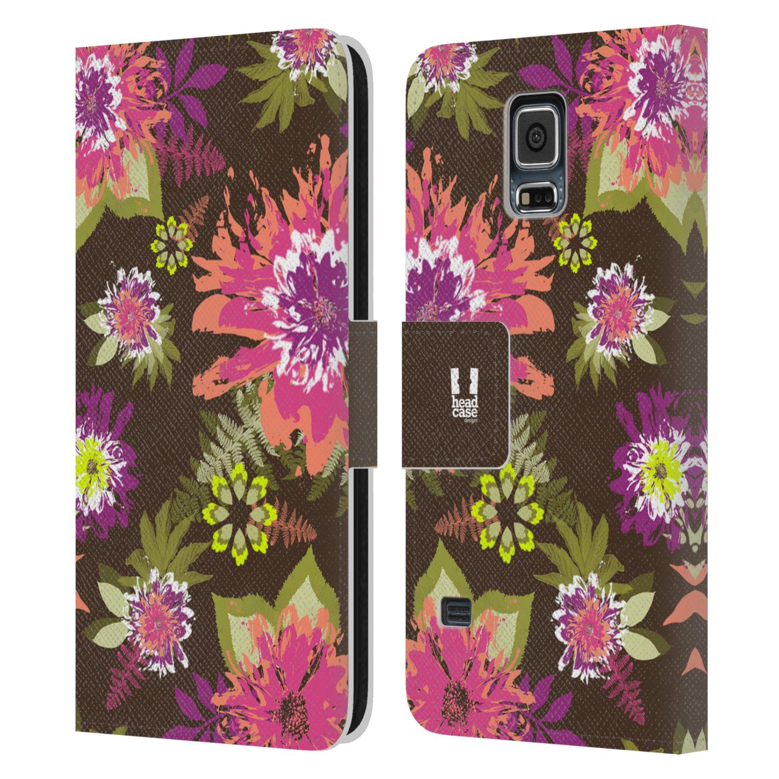 HEAD CASE Flipové pouzdro pro mobil Samsung Galaxy S5 / S5 NEO BOTANIKA barevné květy zelená