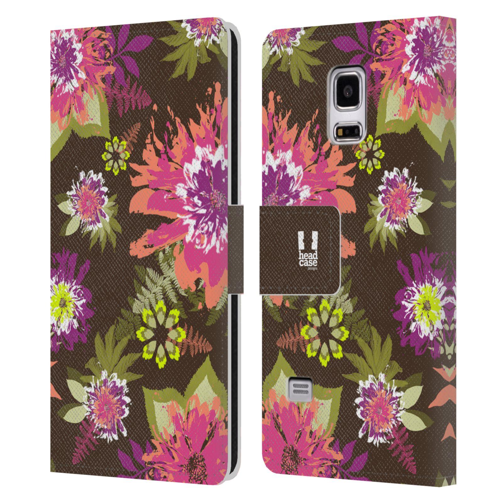 HEAD CASE Flipové pouzdro pro mobil Samsung Galaxy S5 MINI / S5 MINI DUOS BOTANIKA barevné květy zelená