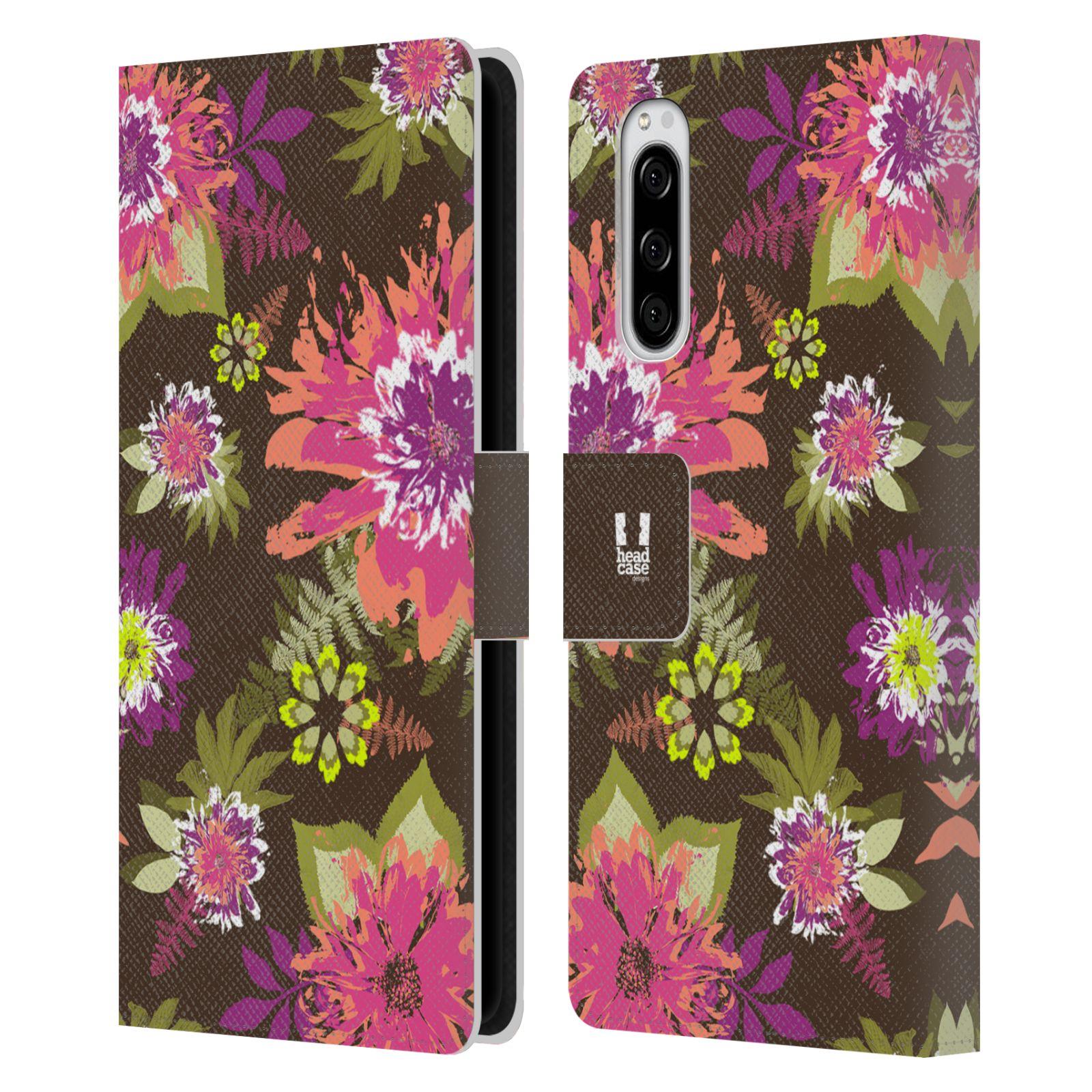 Pouzdro na mobil Sony Xperia 5 BOTANIKA barevné květy zelená