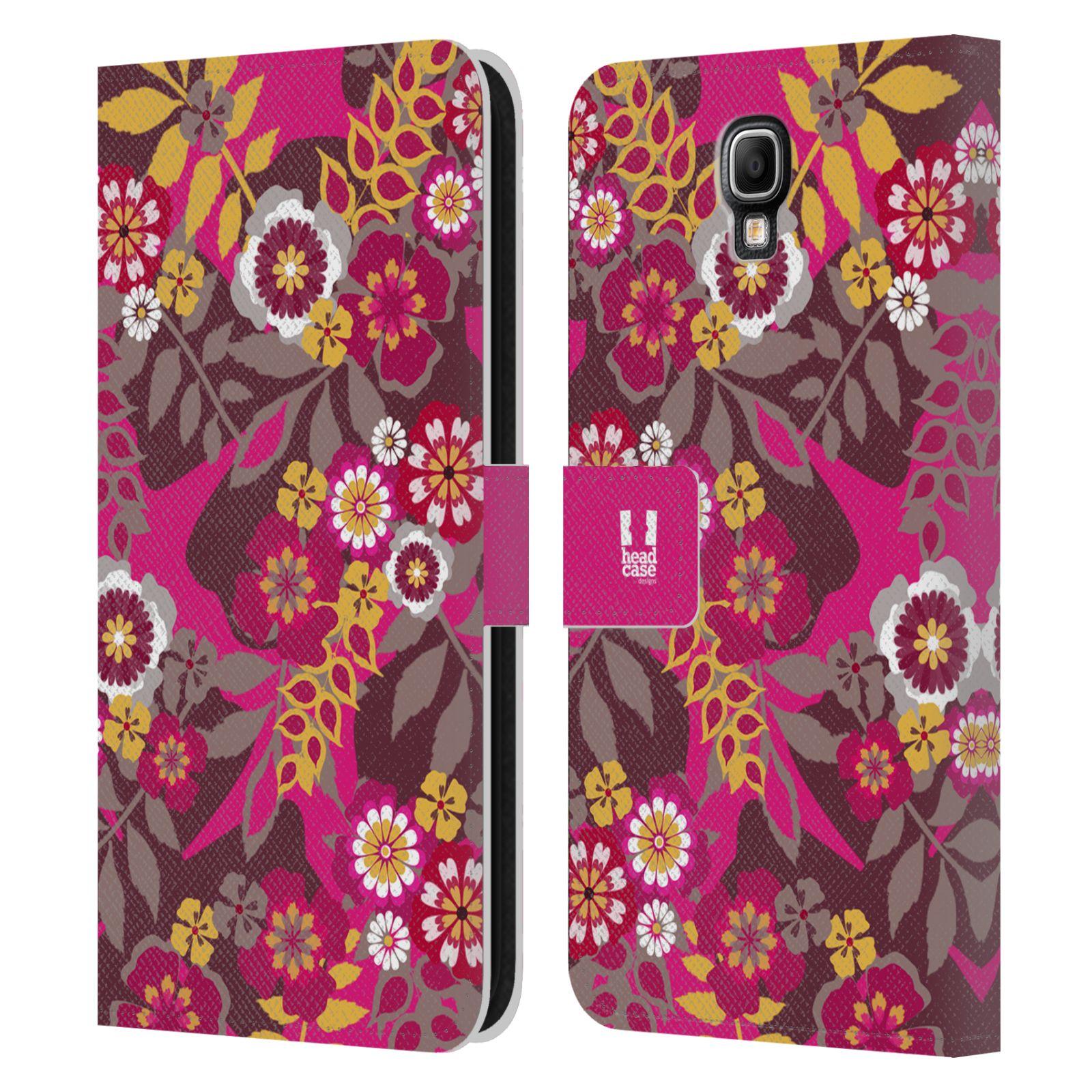 HEAD CASE Flipové pouzdro pro mobil Samsung Galaxy Note 3 NEO (N7505) BOTANIKA růžová a hnědá