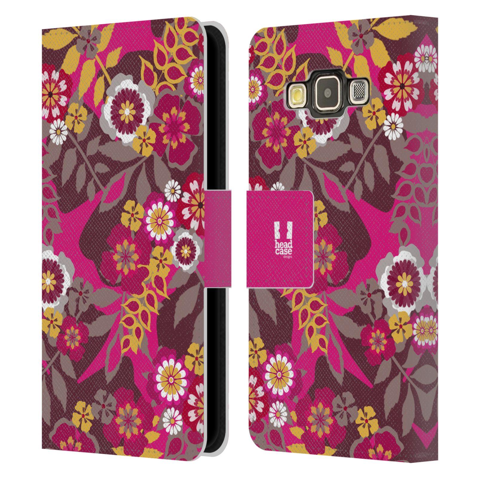 HEAD CASE Flipové pouzdro pro mobil Samsung Galaxy A3 BOTANIKA růžová a hnědá
