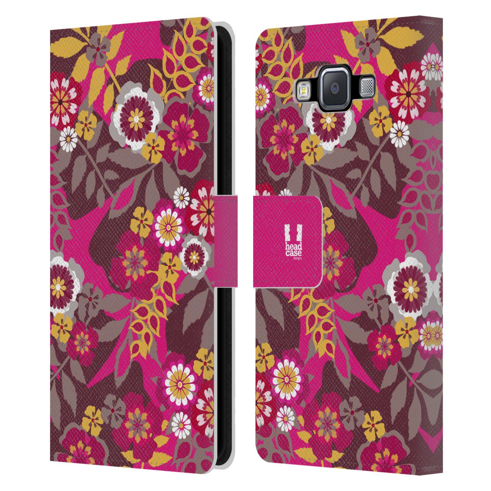 HEAD CASE Flipové pouzdro pro mobil Samsung Galaxy A5 BOTANIKA růžová a hnědá