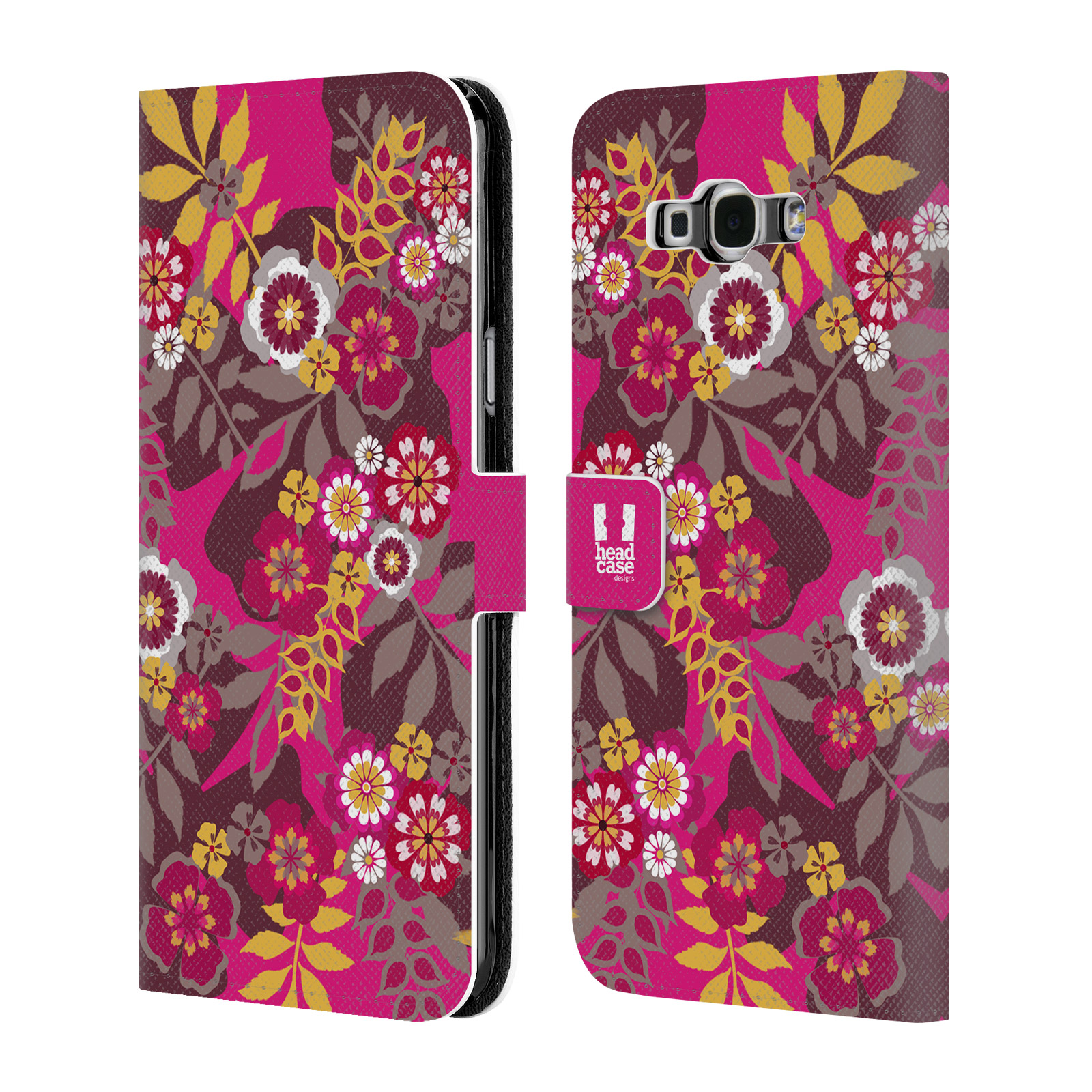 HEAD CASE Flipové pouzdro pro mobil Samsung Galaxy A8 BOTANIKA růžová a hnědá