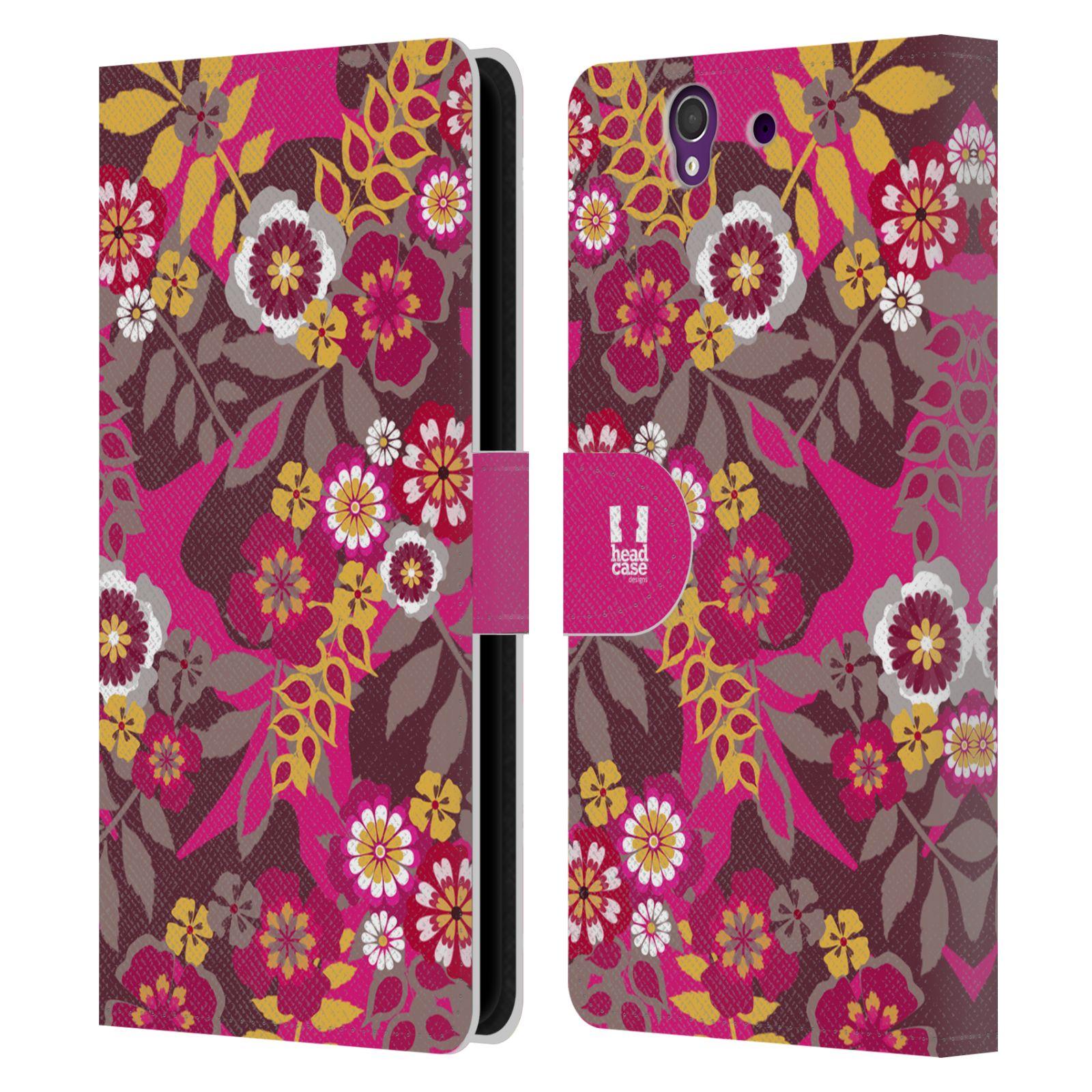 HEAD CASE Flipové pouzdro pro mobil SONY XPERIA Z (C6603) BOTANIKA růžová a hnědá