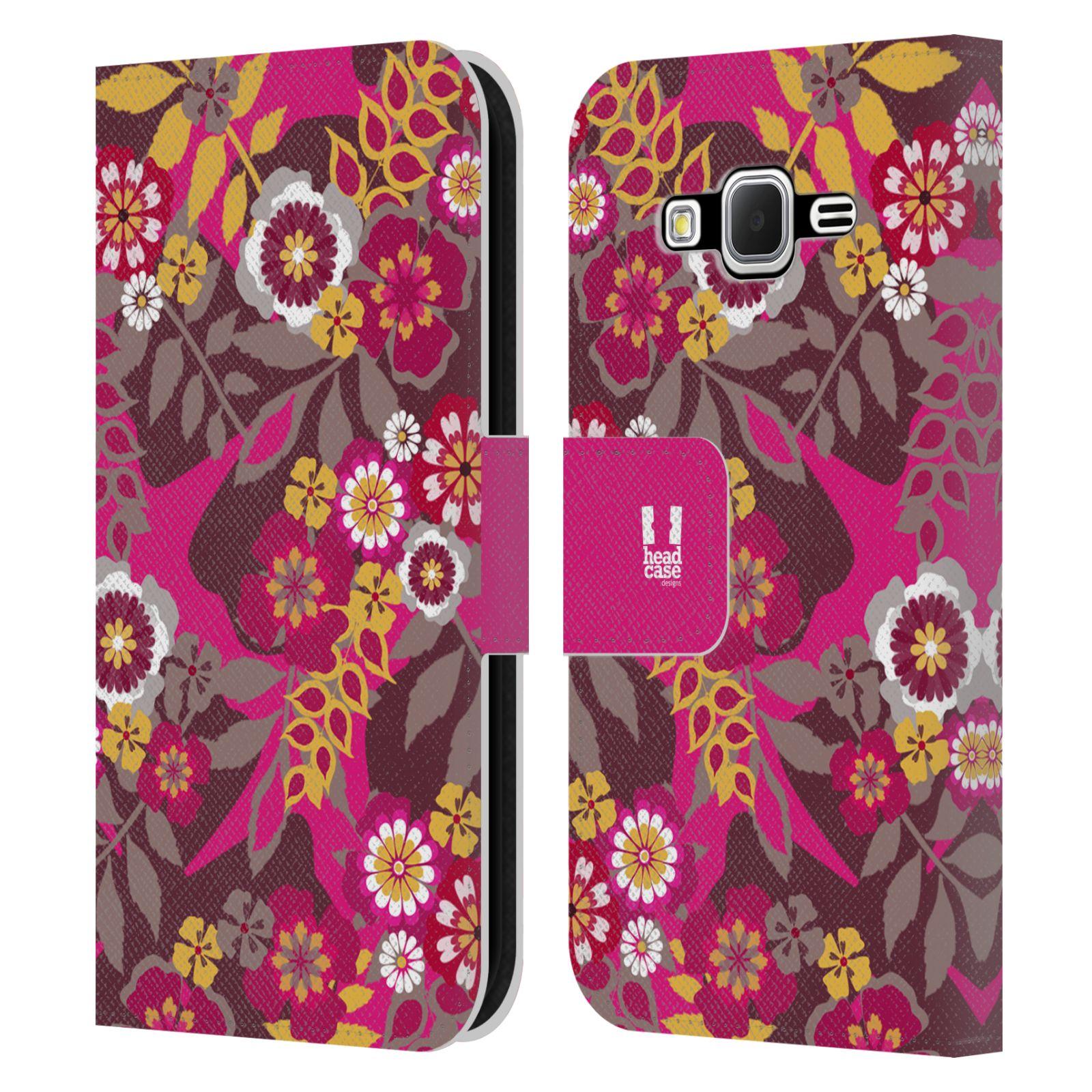 HEAD CASE Flipové pouzdro pro mobil Samsung Galaxy CORE PRIME BOTANIKA růžová a hnědá