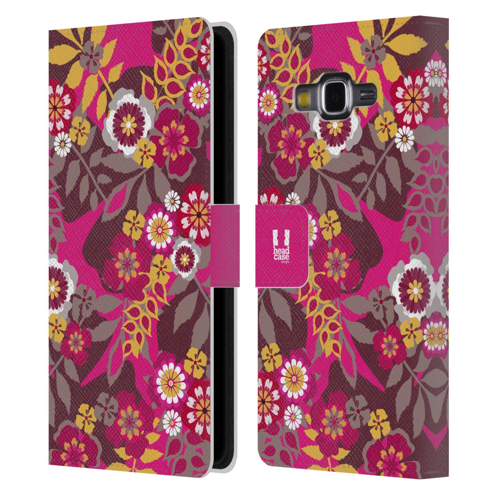 HEAD CASE Flipové pouzdro pro mobil Samsung Galaxy Grand PRIME BOTANIKA růžová a hnědá