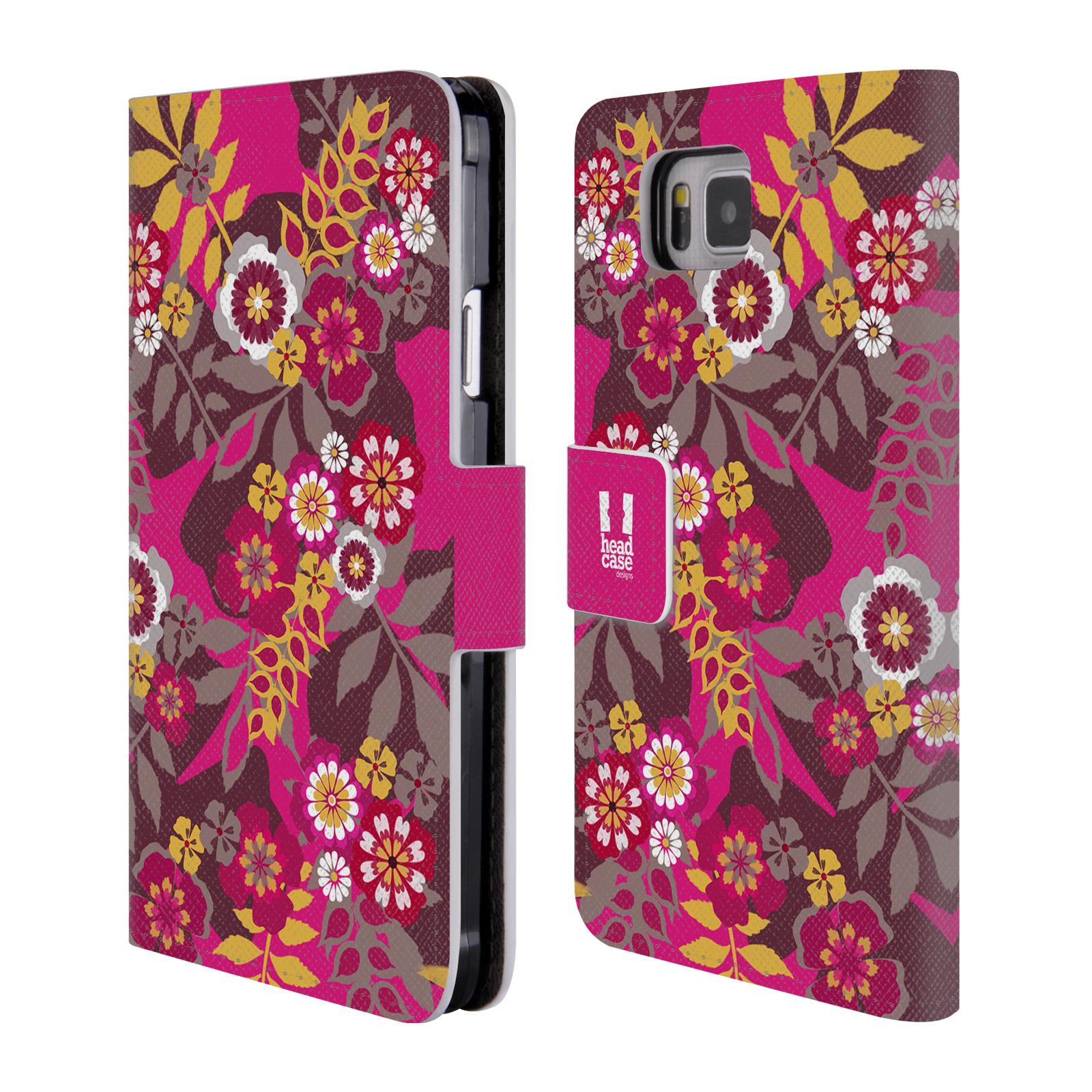 HEAD CASE Flipové pouzdro pro mobil Samsung Galaxy ALPHA BOTANIKA růžová a hnědá