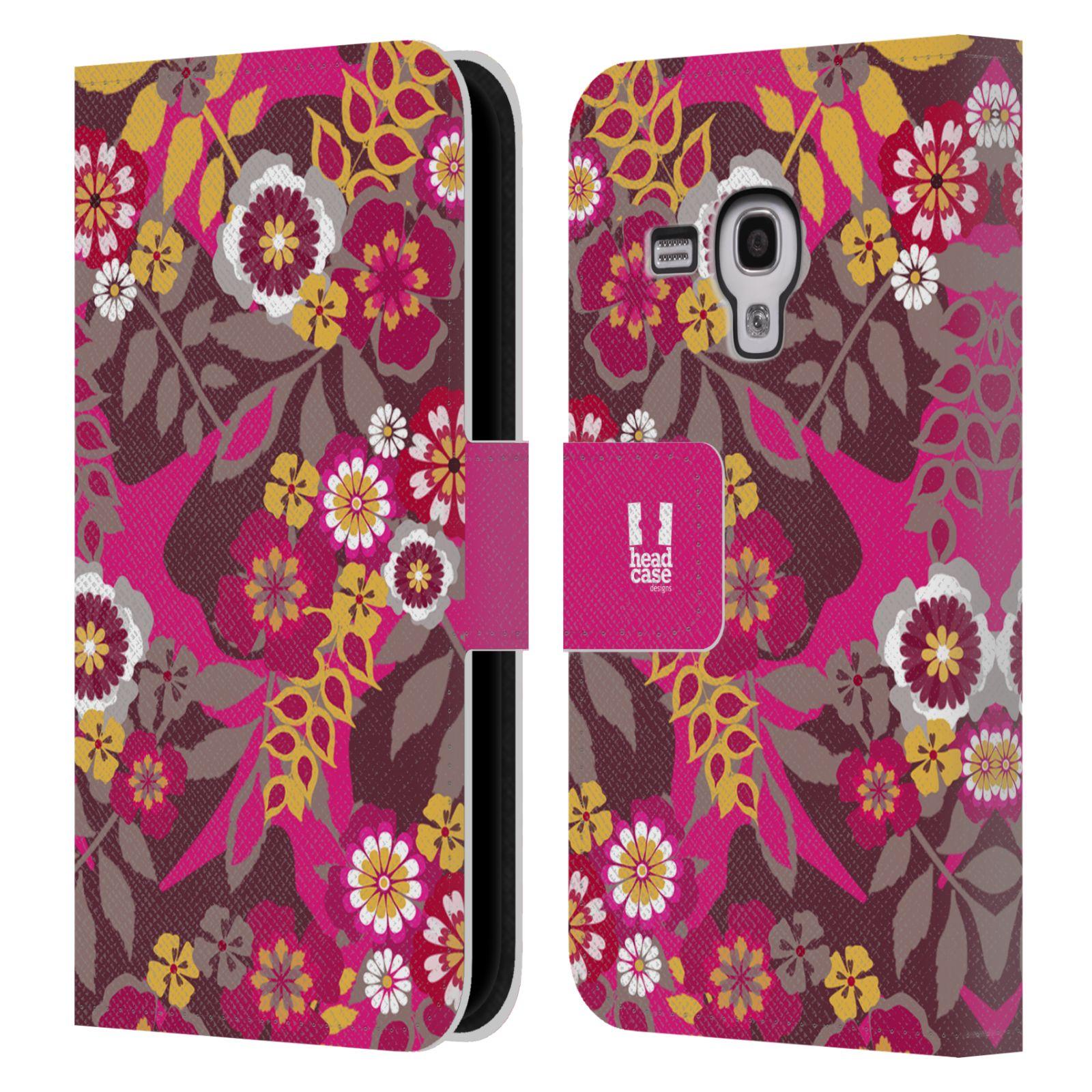 HEAD CASE Flipové pouzdro pro mobil Samsung Galaxy S3 MINI BOTANIKA růžová a hnědá