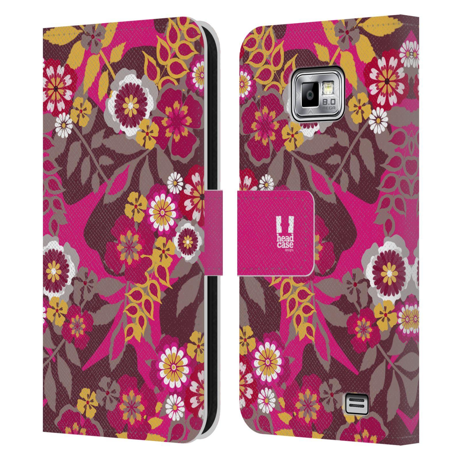 HEAD CASE Flipové pouzdro pro mobil Samsung Galaxy S2 i9100 BOTANIKA růžová a hnědá