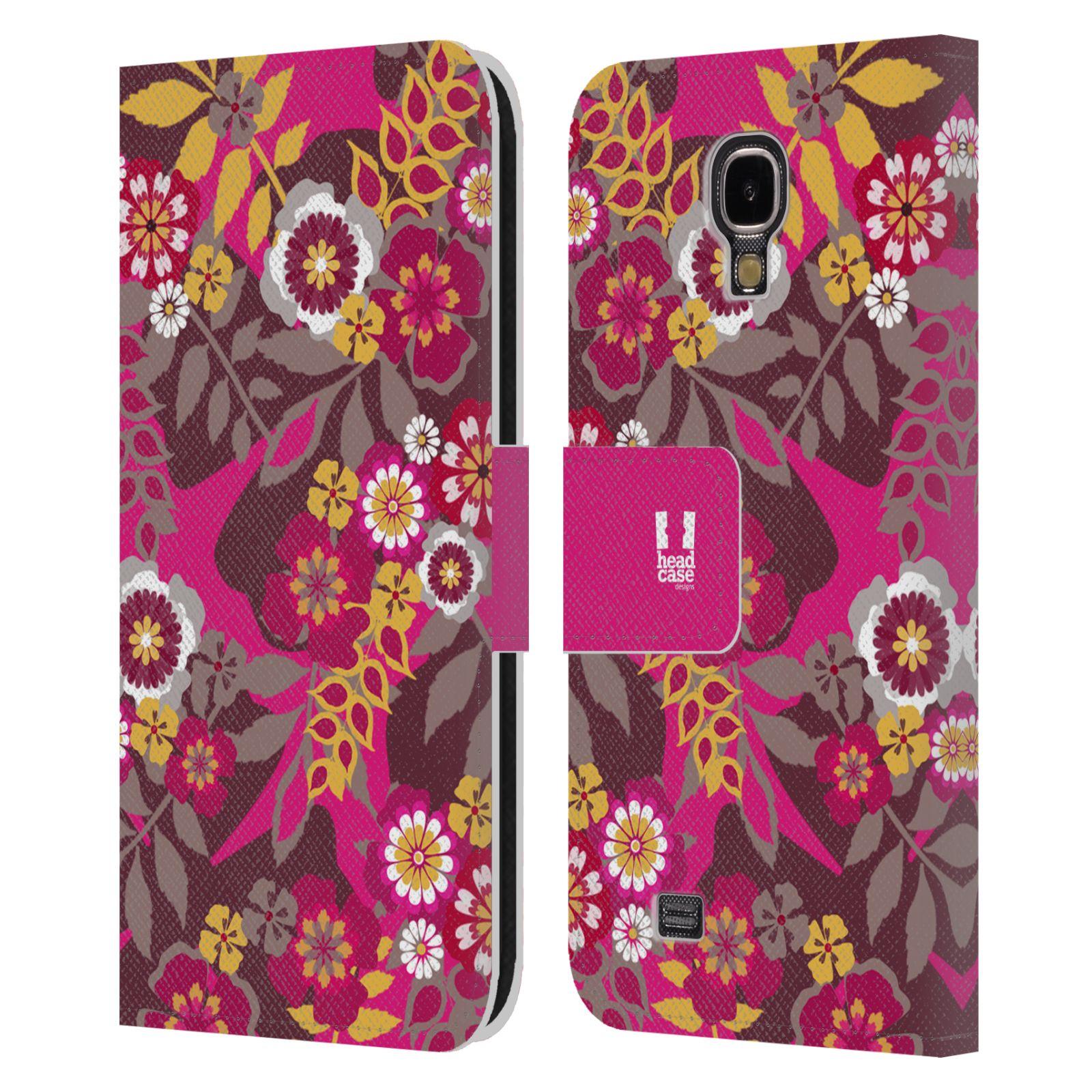 HEAD CASE Flipové pouzdro pro mobil Samsung Galaxy S4 BOTANIKA růžová a hnědá