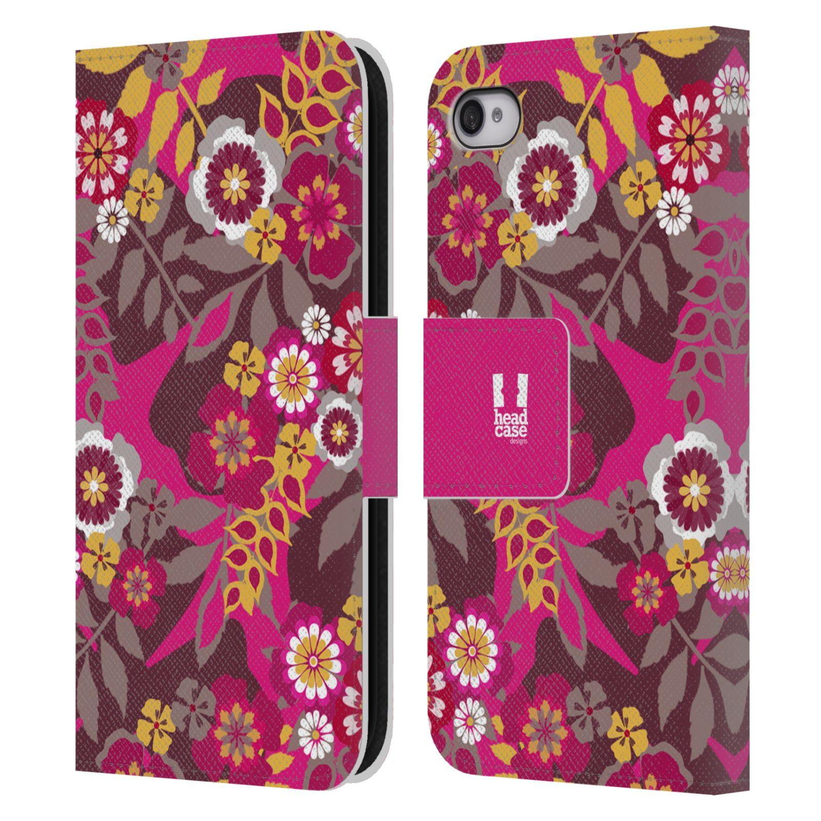 HEAD CASE Flipové pouzdro pro mobil Apple Iphone 4/4s BOTANIKA růžová a hnědá