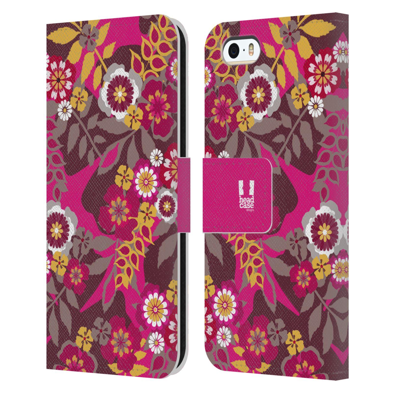 HEAD CASE Flipové pouzdro pro mobil Apple Iphone 5/5s BOTANIKA růžová a hnědá