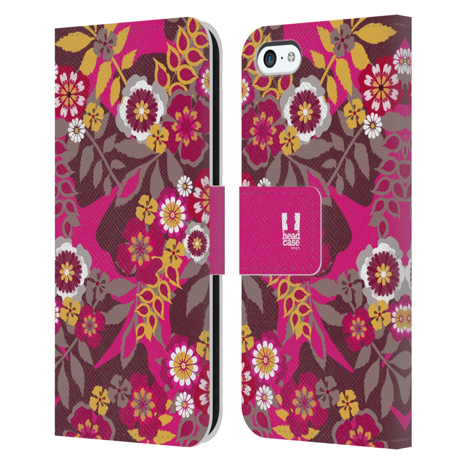 HEAD CASE Flipové pouzdro pro mobil Apple Iphone 5C BOTANIKA růžová a hnědá