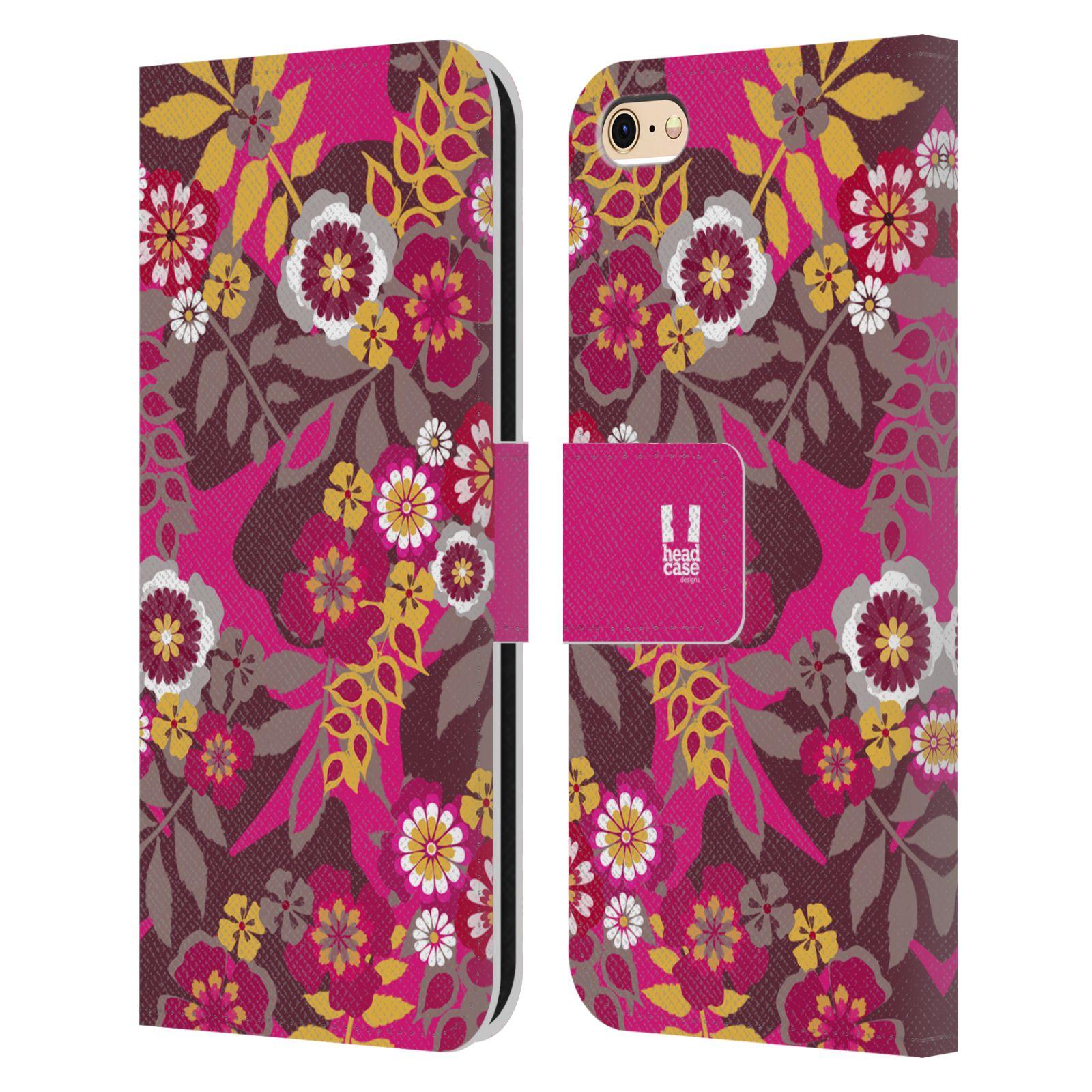 HEAD CASE Flipové pouzdro pro mobil Apple Iphone 6/6s BOTANIKA růžová a hnědá