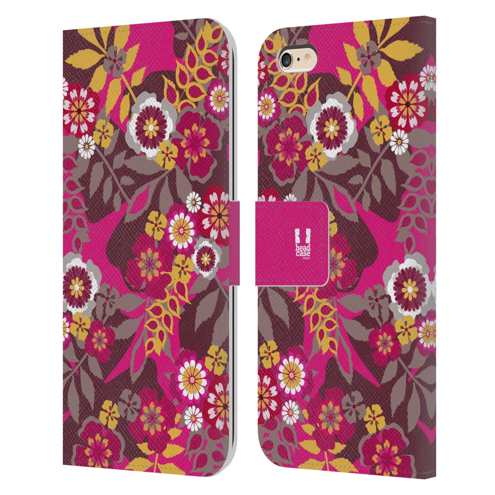 HEAD CASE Flipové pouzdro pro mobil Apple Iphone 6 PLUS / 6S PLUS BOTANIKA růžová a hnědá