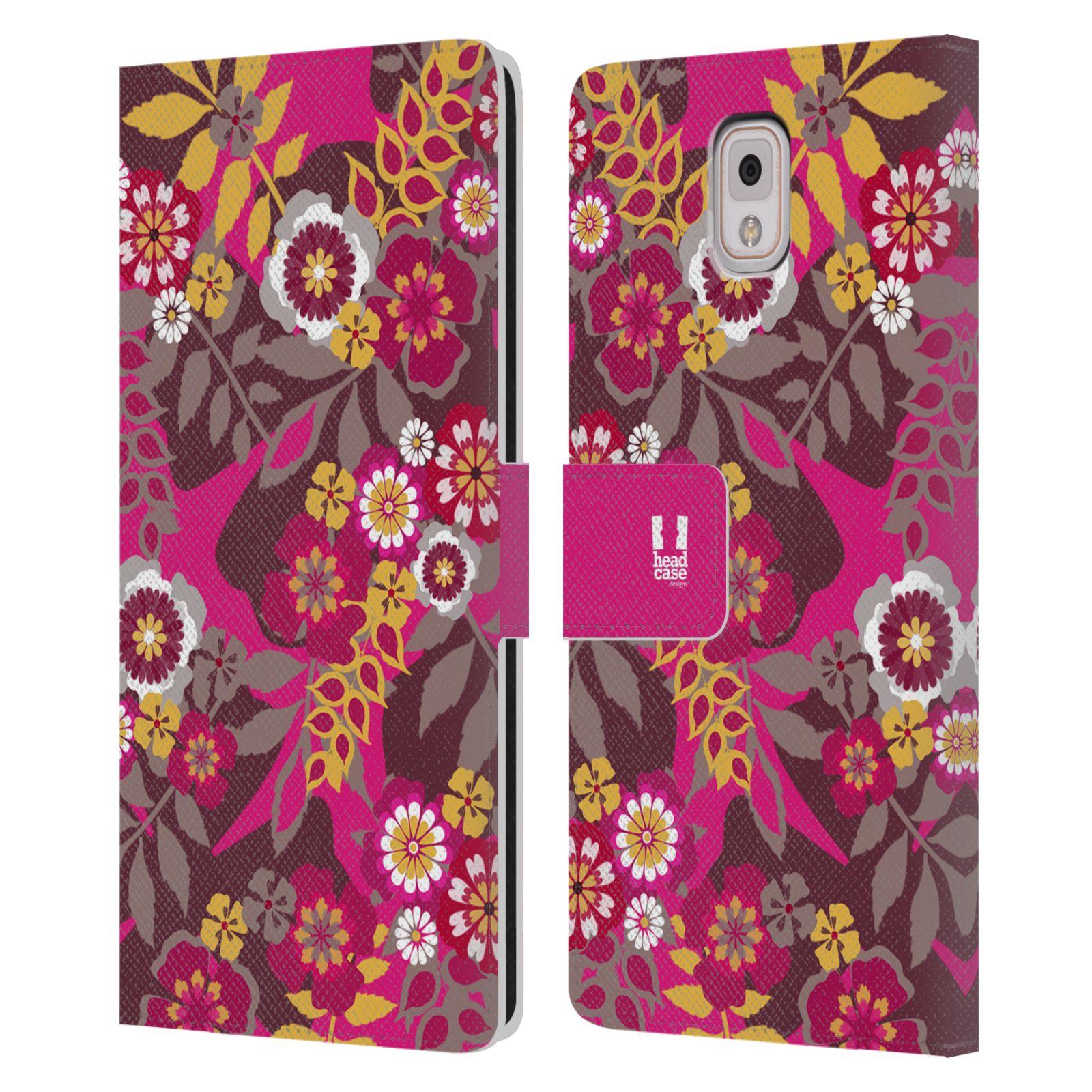 HEAD CASE Flipové pouzdro pro mobil Samsung Galaxy Note 3 N9005 BOTANIKA růžová a hnědá