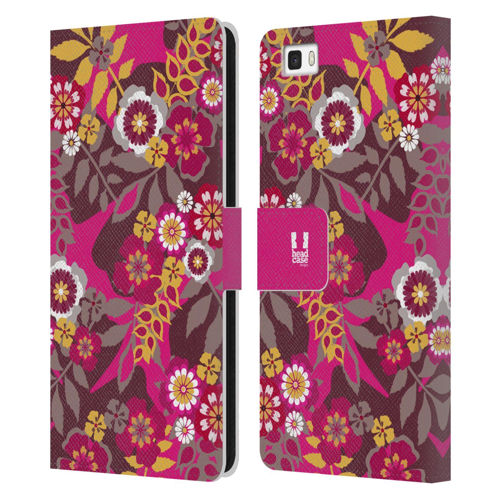 HEAD CASE Flipové pouzdro pro mobil Huawei P8 LITE BOTANIKA růžová a hnědá