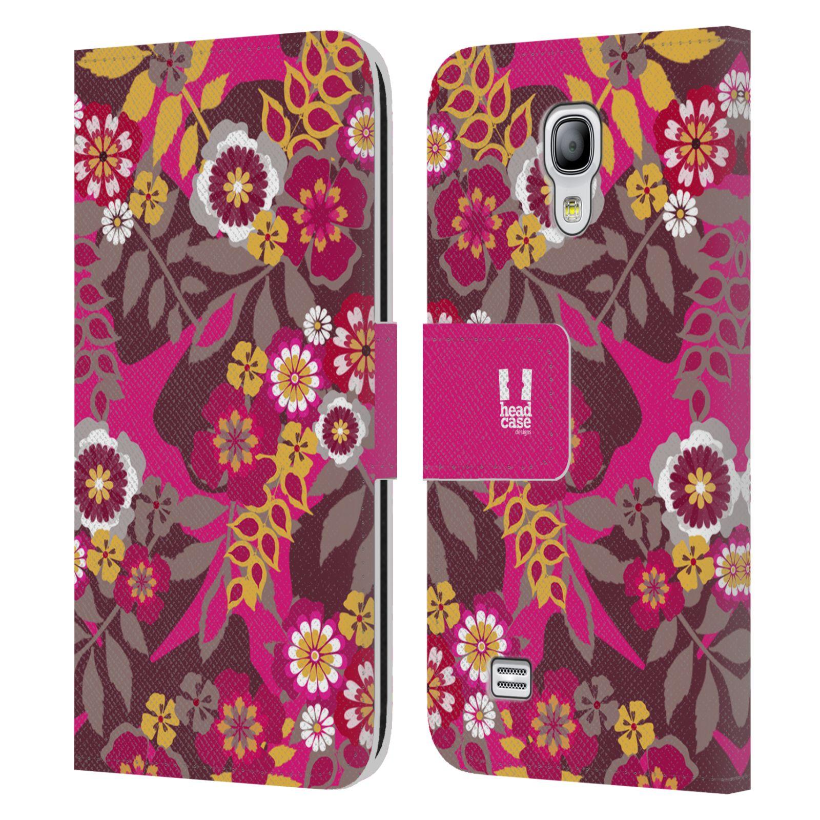 HEAD CASE Flipové pouzdro pro mobil Samsung Galaxy S4 MINI / S4 MINI DUOS BOTANIKA růžová a hnědá