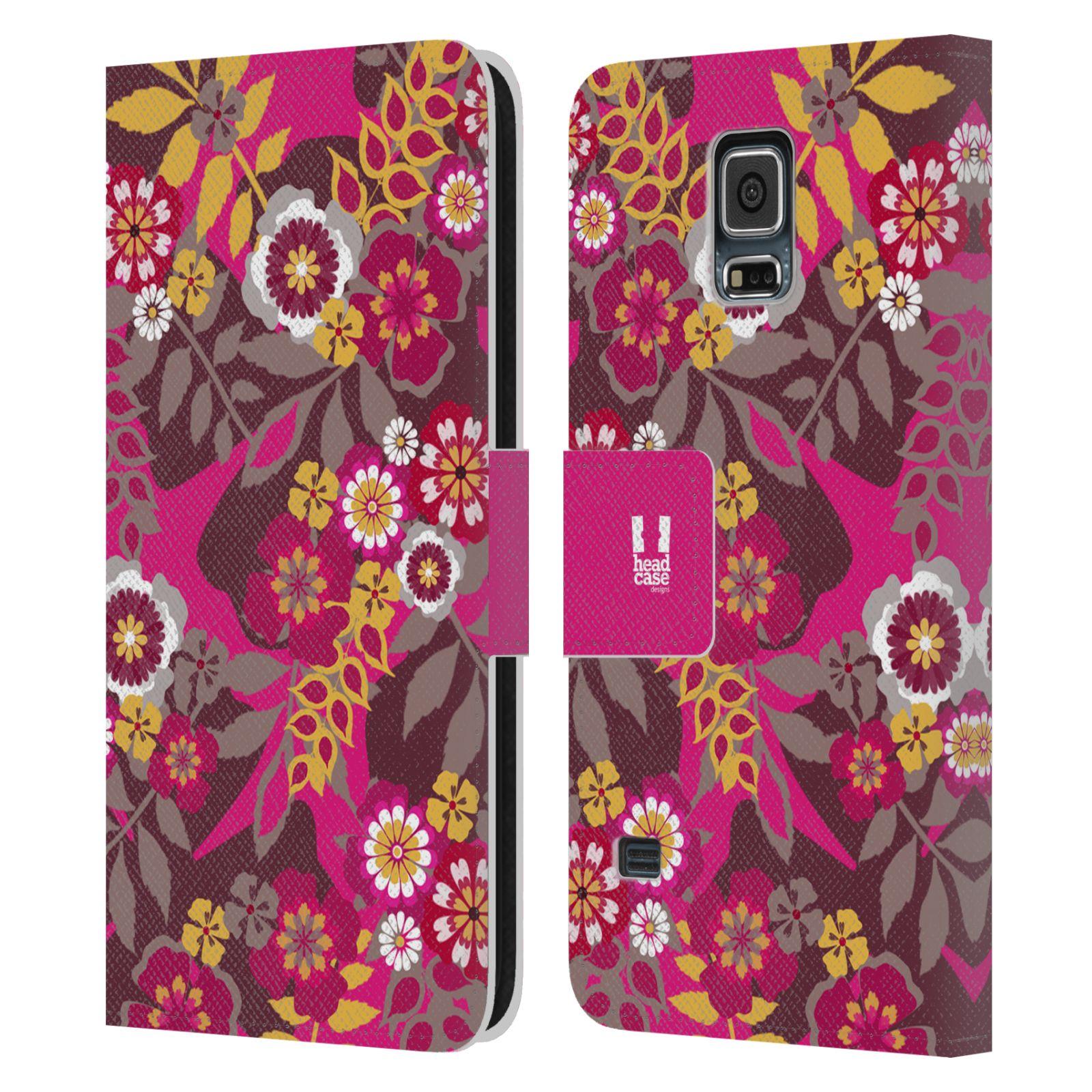 HEAD CASE Flipové pouzdro pro mobil Samsung Galaxy S5 / S5 NEO BOTANIKA růžová a hnědá