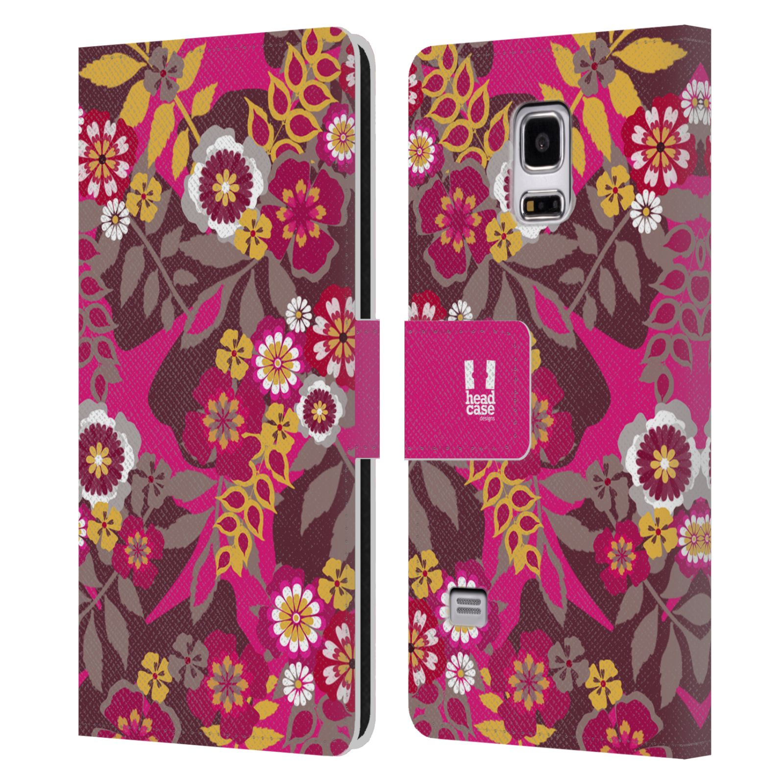 HEAD CASE Flipové pouzdro pro mobil Samsung Galaxy S5 MINI / S5 MINI DUOS BOTANIKA růžová a hnědá