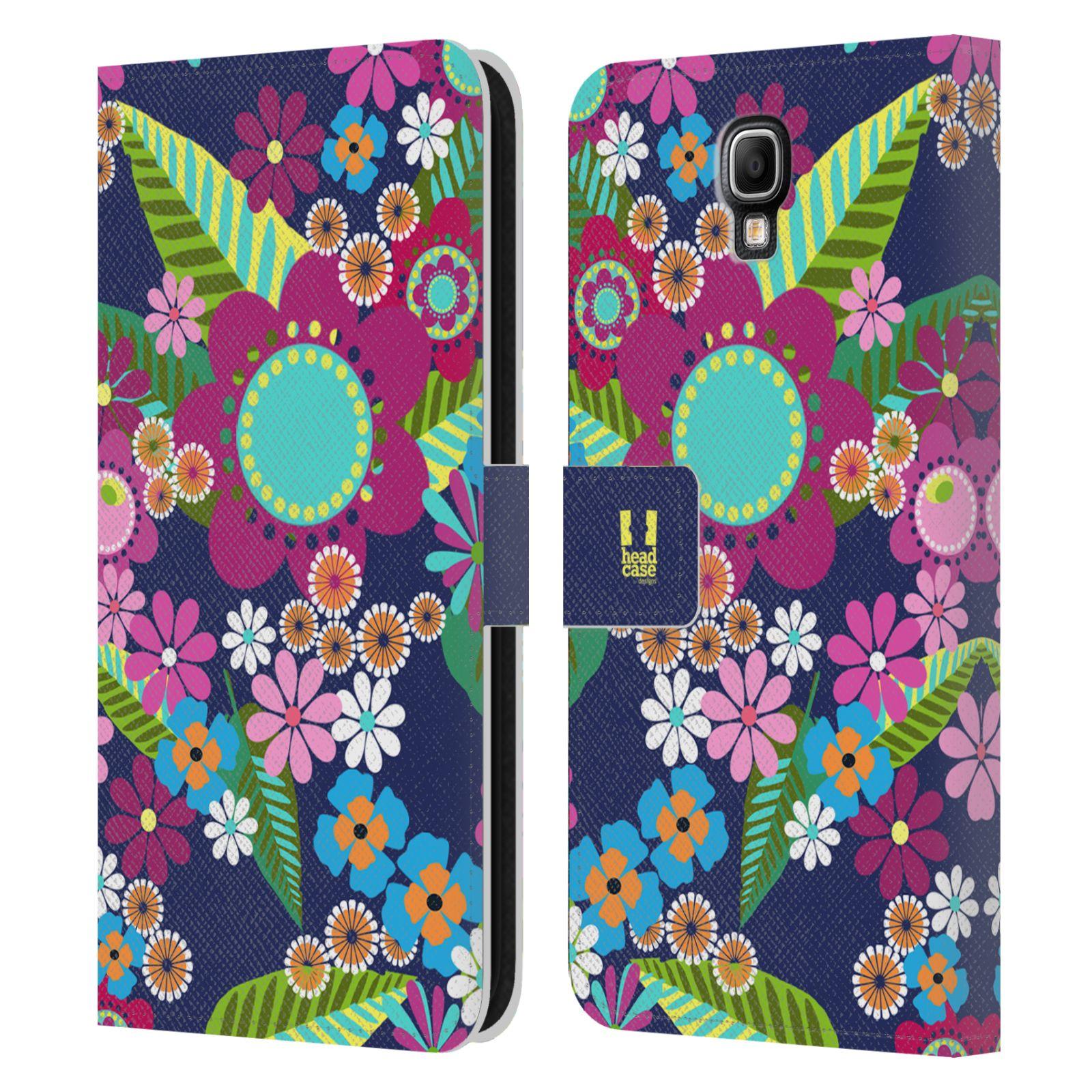 HEAD CASE Flipové pouzdro pro mobil Samsung Galaxy Note 3 NEO (N7505) BOTANIKA barevné květy modrá