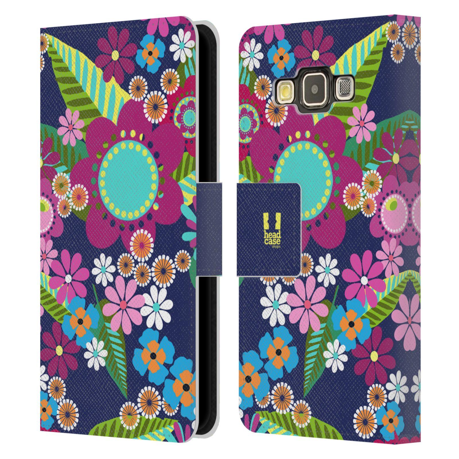 HEAD CASE Flipové pouzdro pro mobil Samsung Galaxy A3 BOTANIKA barevné květy modrá