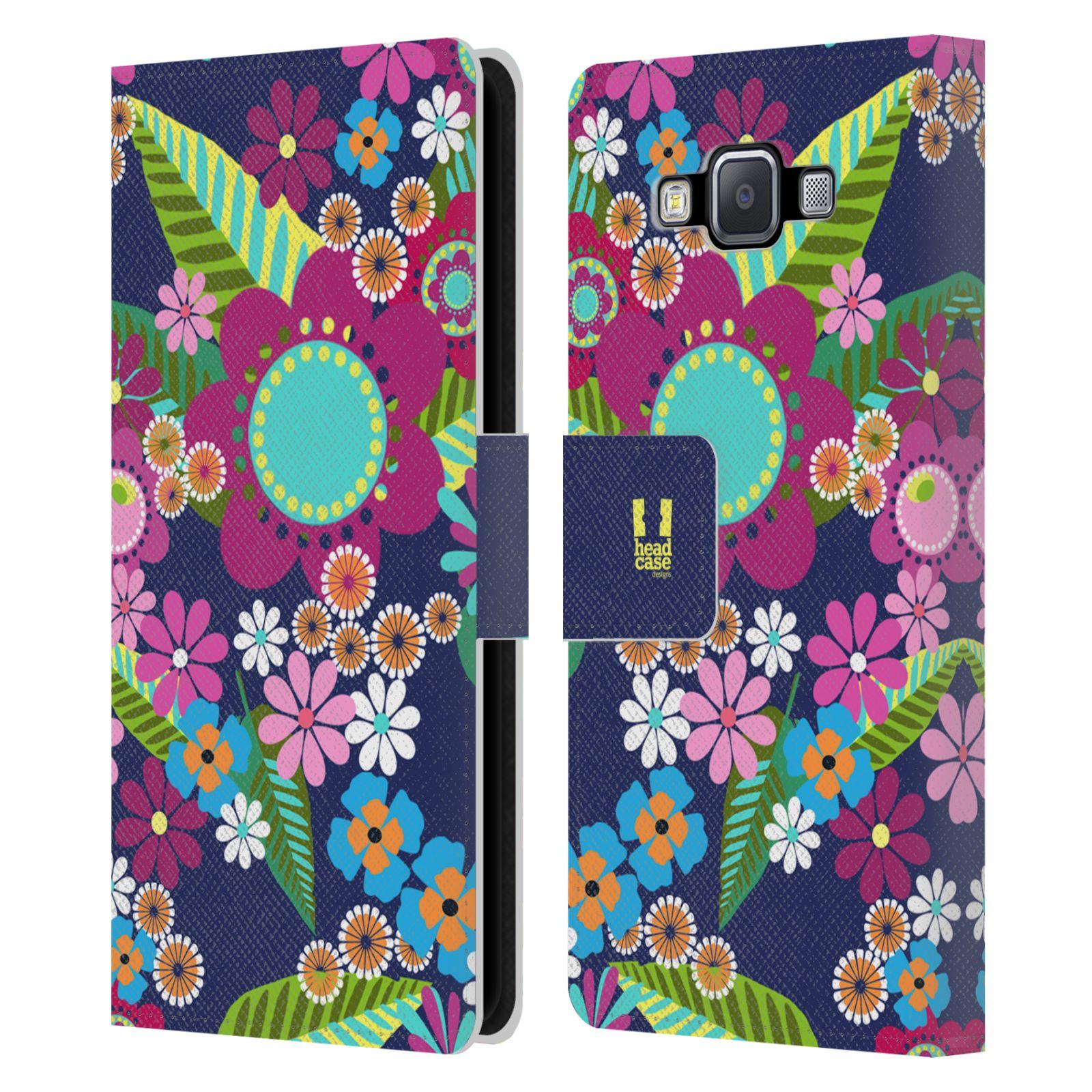 HEAD CASE Flipové pouzdro pro mobil Samsung Galaxy A5 BOTANIKA barevné květy modrá