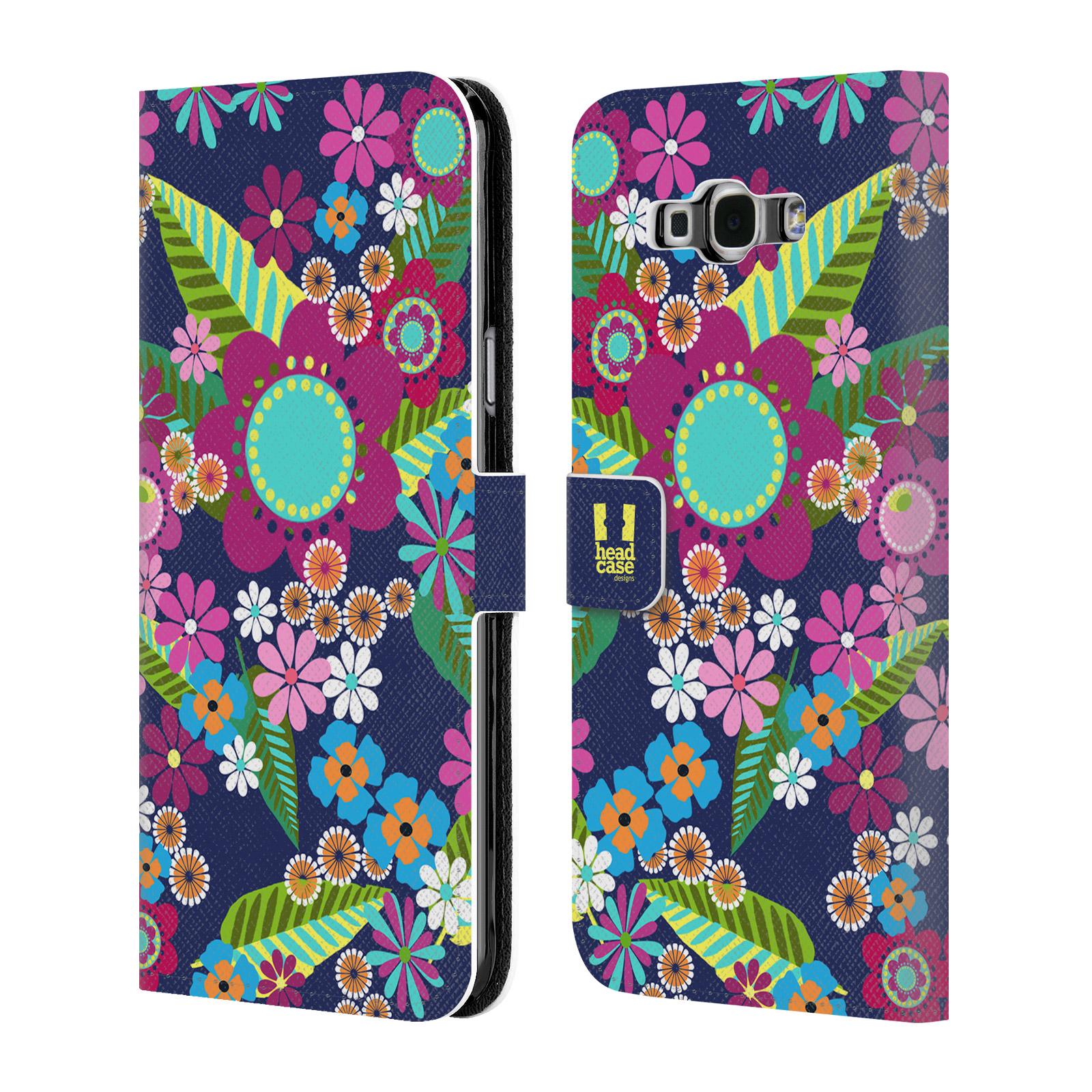 HEAD CASE Flipové pouzdro pro mobil Samsung Galaxy A8 BOTANIKA barevné květy modrá