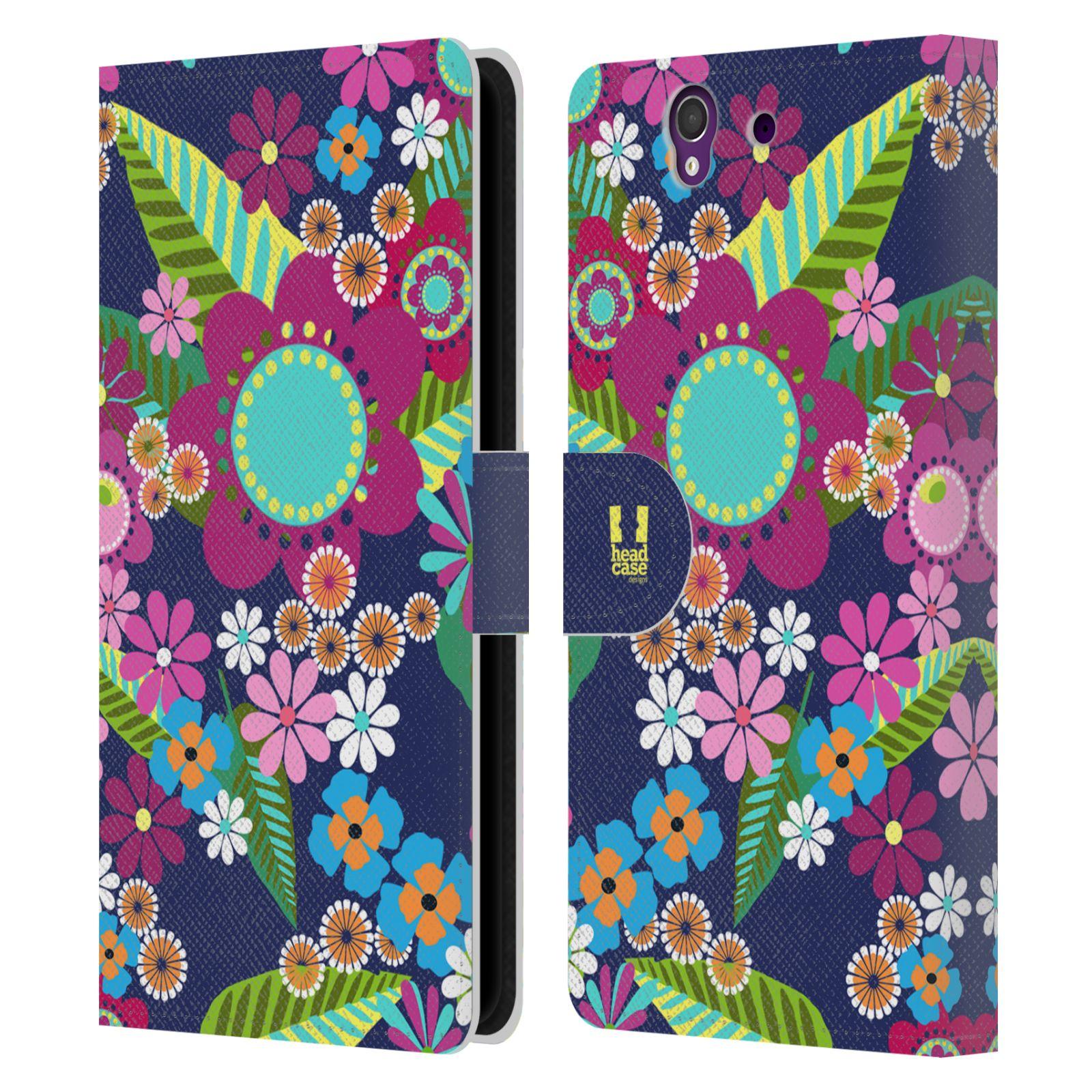HEAD CASE Flipové pouzdro pro mobil SONY XPERIA Z (C6603) BOTANIKA barevné květy modrá