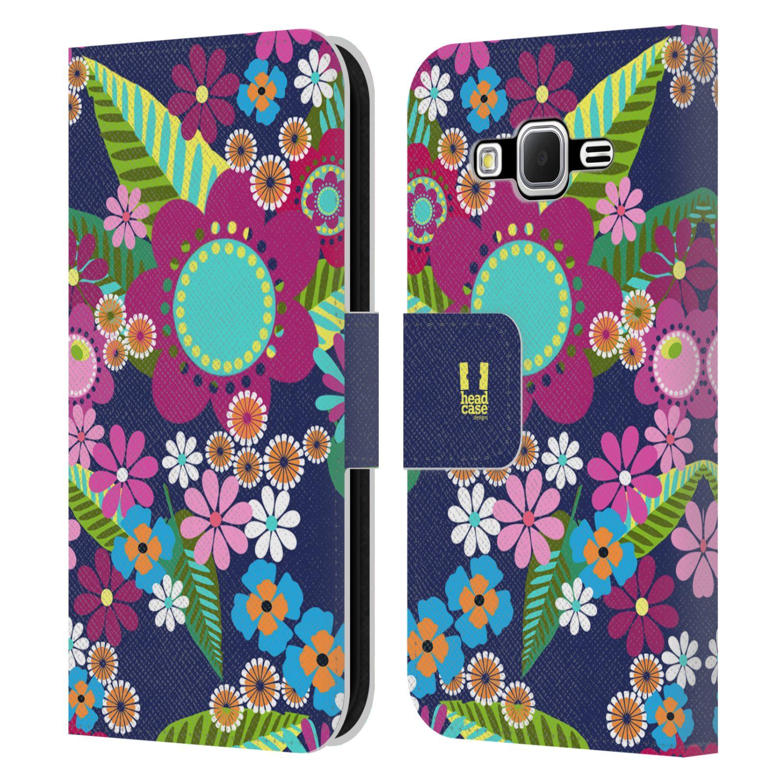 HEAD CASE Flipové pouzdro pro mobil Samsung Galaxy CORE PRIME BOTANIKA barevné květy modrá
