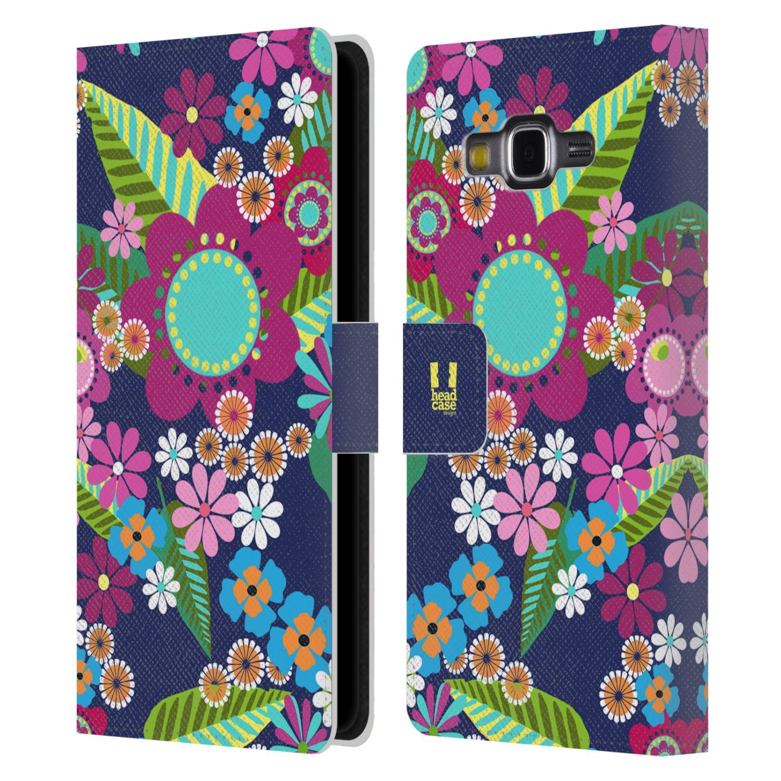 HEAD CASE Flipové pouzdro pro mobil Samsung Galaxy Grand PRIME BOTANIKA barevné květy modrá