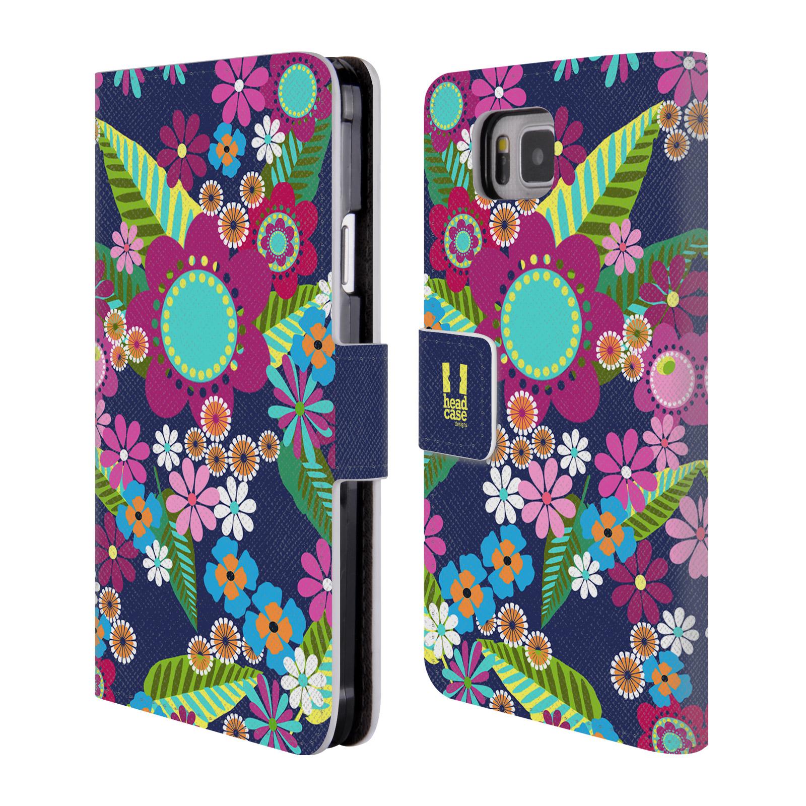 HEAD CASE Flipové pouzdro pro mobil Samsung Galaxy ALPHA BOTANIKA barevné květy modrá