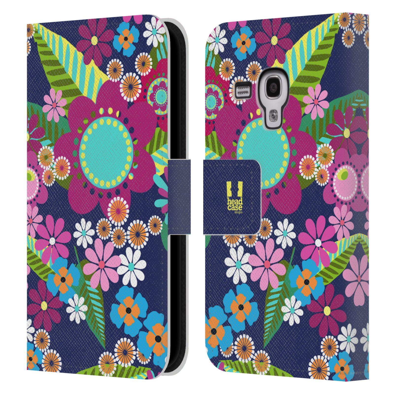 HEAD CASE Flipové pouzdro pro mobil Samsung Galaxy S3 MINI BOTANIKA barevné květy modrá