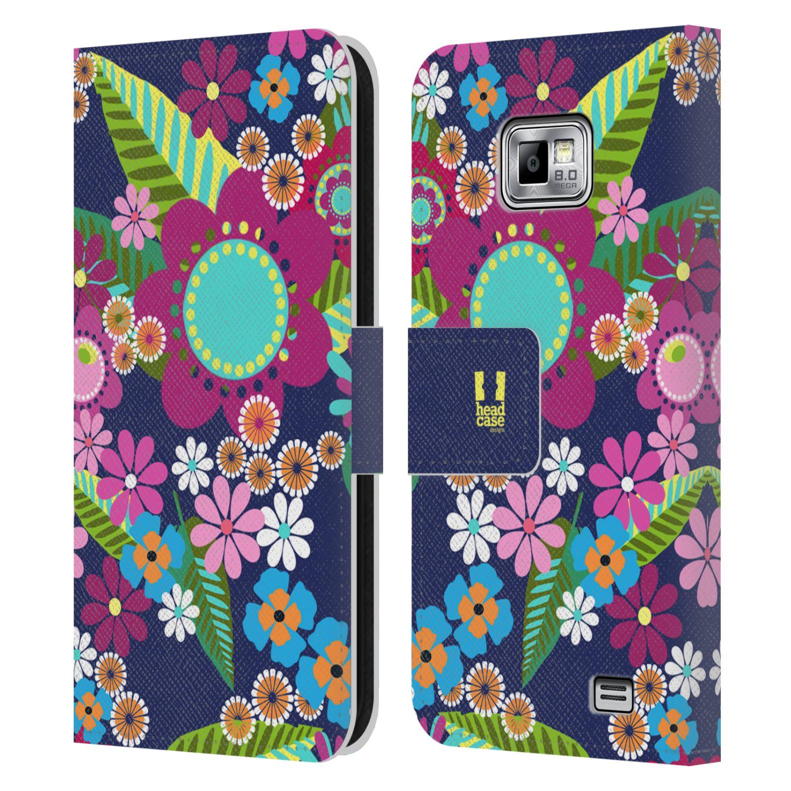 HEAD CASE Flipové pouzdro pro mobil Samsung Galaxy S2 i9100 BOTANIKA barevné květy modrá