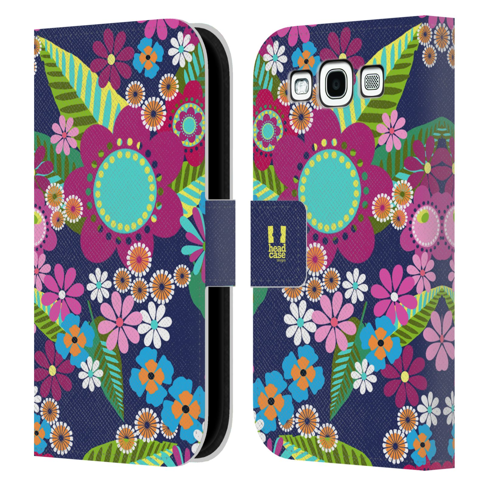 HEAD CASE Flipové pouzdro pro mobil Samsung Galaxy S3 BOTANIKA barevné květy modrá