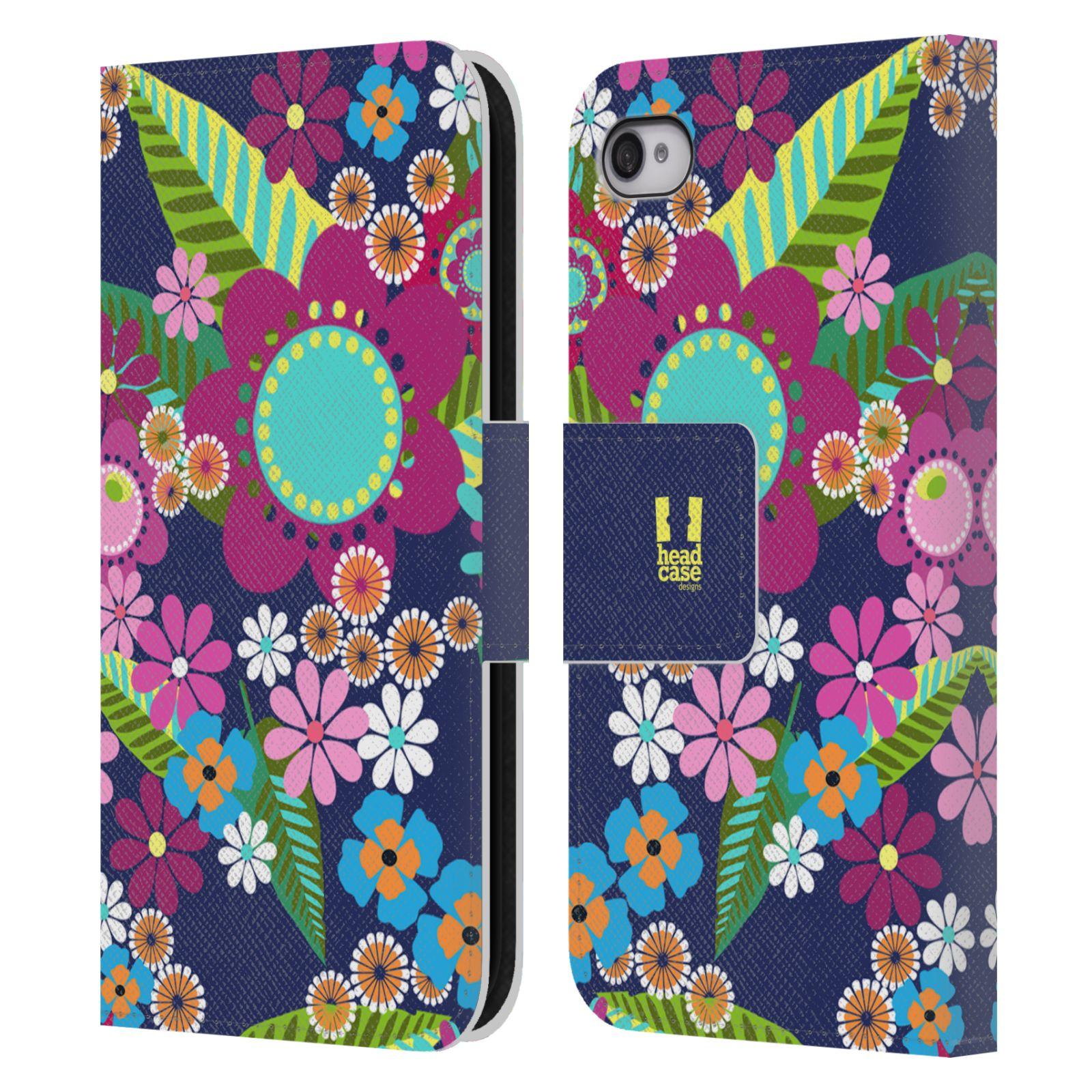 HEAD CASE Flipové pouzdro pro mobil Apple Iphone 4/4s BOTANIKA barevné květy modrá